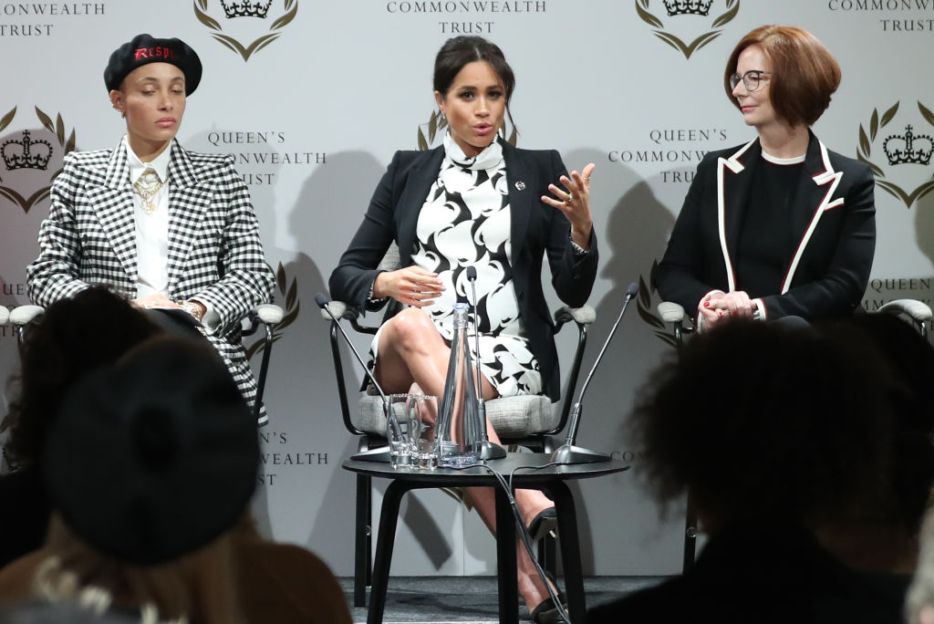 The star-studded event, which was designed to bring together activists to discuss pressing issues which affect women today, also saw Annie Lennox and former Australia Prime Minister Julia Gillard take to the panel. (Photo by Daniel Leal-Olivas - WPA Pool/Getty Images)