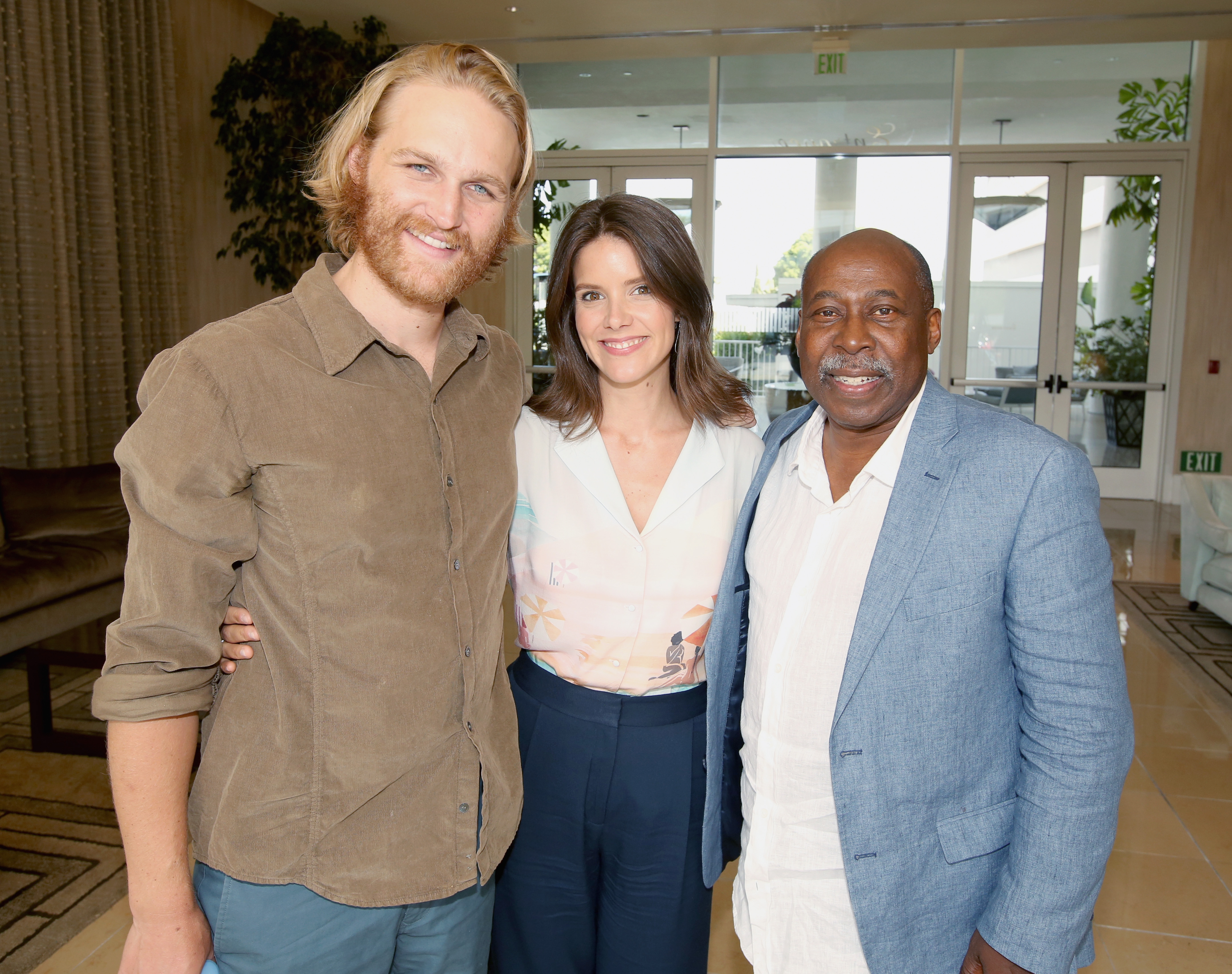 (L-R) Actors Wyatt Russell, Sonya Cassidy and Brent Jennings of 'Lodge 49' attend the AMC Networks portion of the Summer 2018 TCA Press Tour at The Beverly Hilton Hotel on July 28, 2018 in Los Angeles, California.