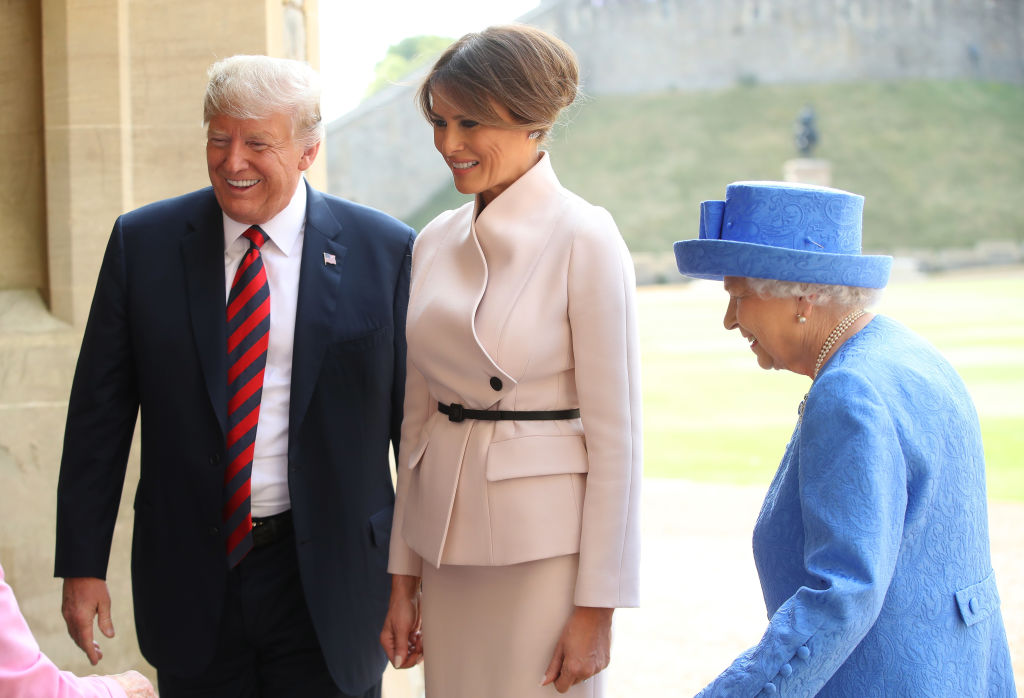 Queen Elizabeth II, President of the United States, Donald Trump and First Lady, Melania Trump walk from the Quadrangle after inspecting an honor guard at Windsor Castle on July 13, 2018, in Windsor, England. (Photo by Chris Jackson/Getty Images)