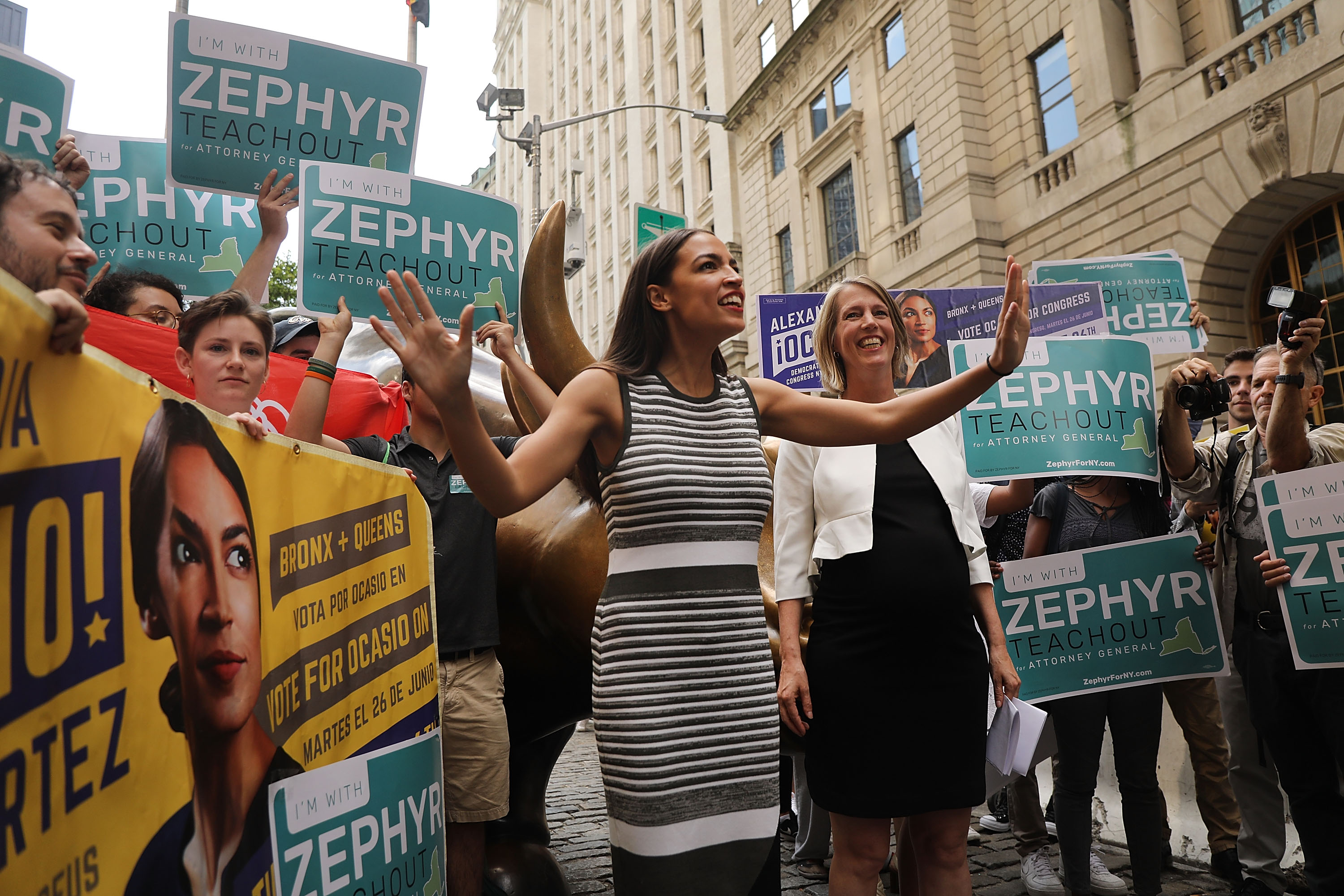 Congressional nominee Alexandria Ocasio-Cortez (L) stands with Zephyr Teachout after endorsing her for New York City Public Advocate on July 12, 2018 in New York City. (Getty Images)