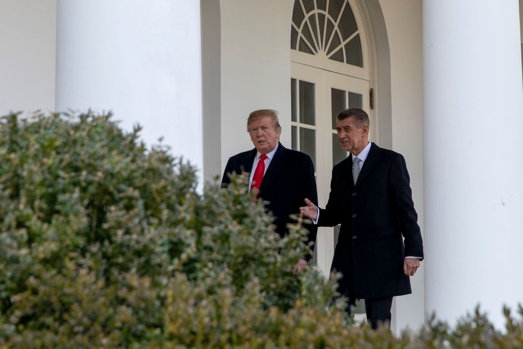 U.S. President Donald Trump walks along the West Wing Colonnade with the Prime Minister of the Czech Republic Andrej Babis as they prepare to enter the Oval Office ahead of a bilateral meeting at the White House in Washington, D.C. on March 7, 2019. (Photo by Alex Edelman - Pool/Getty Images)