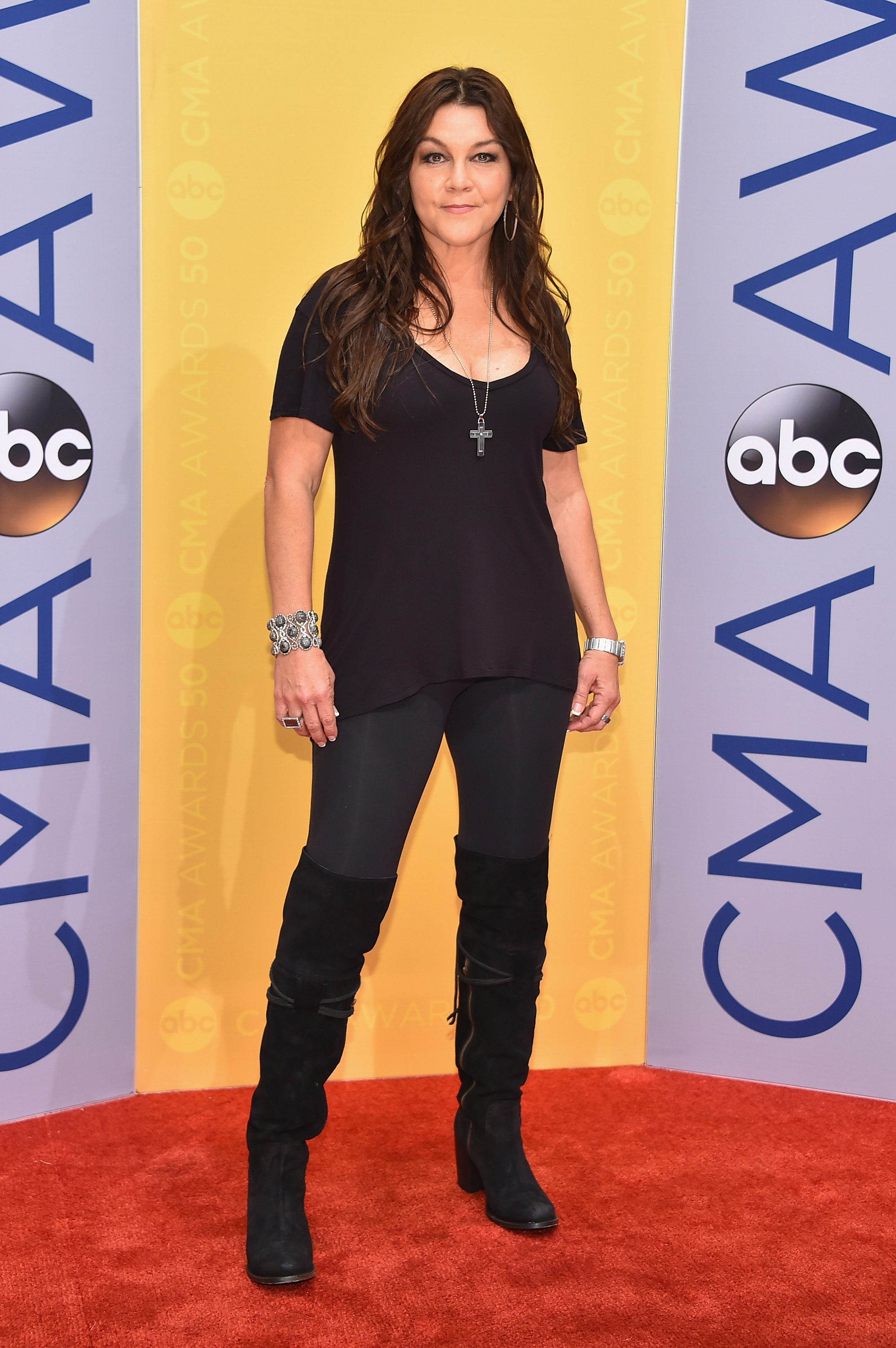 Musical artist Gretchen Wilson attends the 50th annual CMA Awards at the Bridgestone Arena on November 2, 2016 in Nashville, Tennessee.