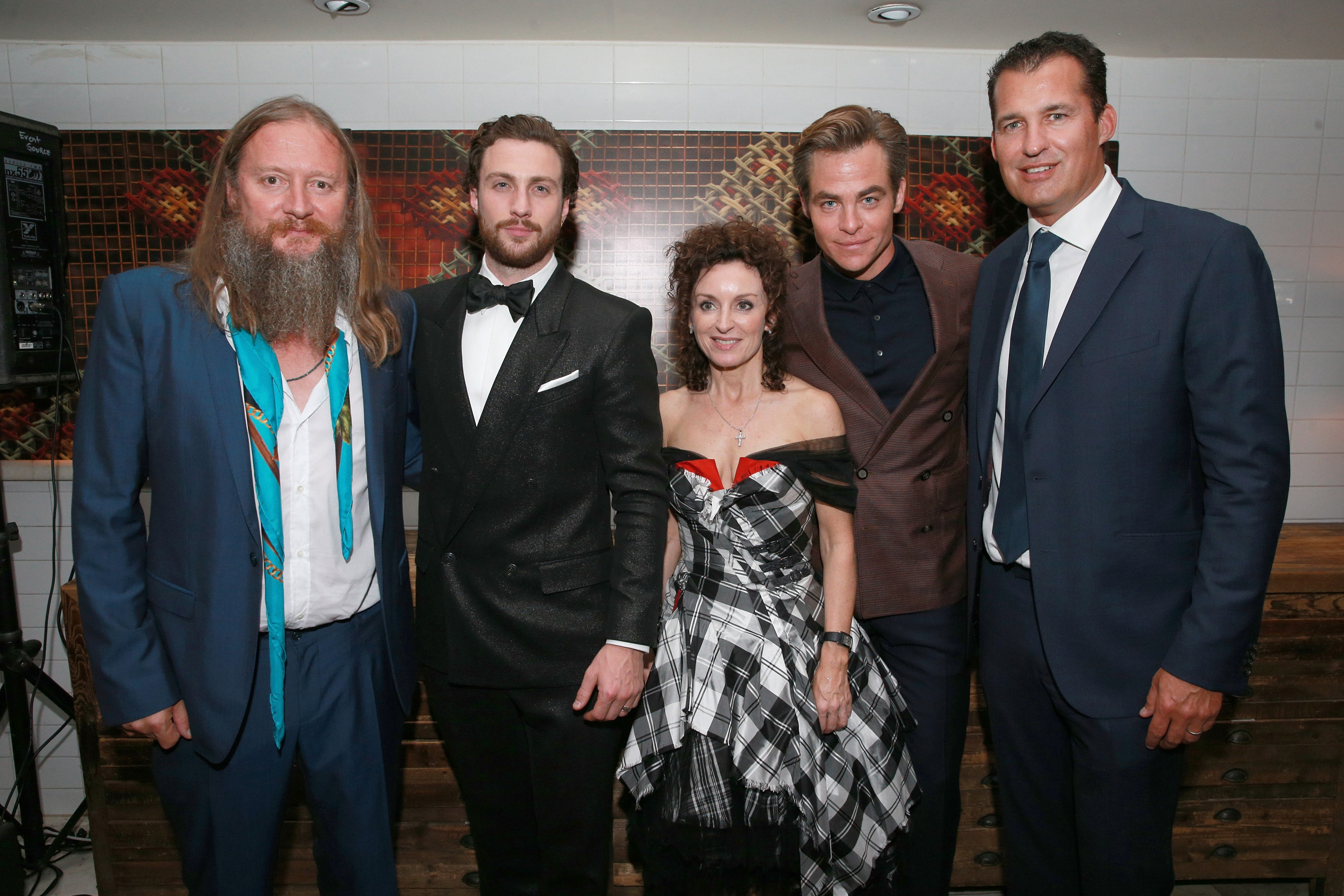 (L-R) David Mackenzie, Aaron Taylor-Johnson , Gillian Berrie, Chris Pine and Scott Stuber attend the after party for the 'Outlaw King' TIFF 2018 opening night red carpet on September 6, 2018 in Toronto, Canada.