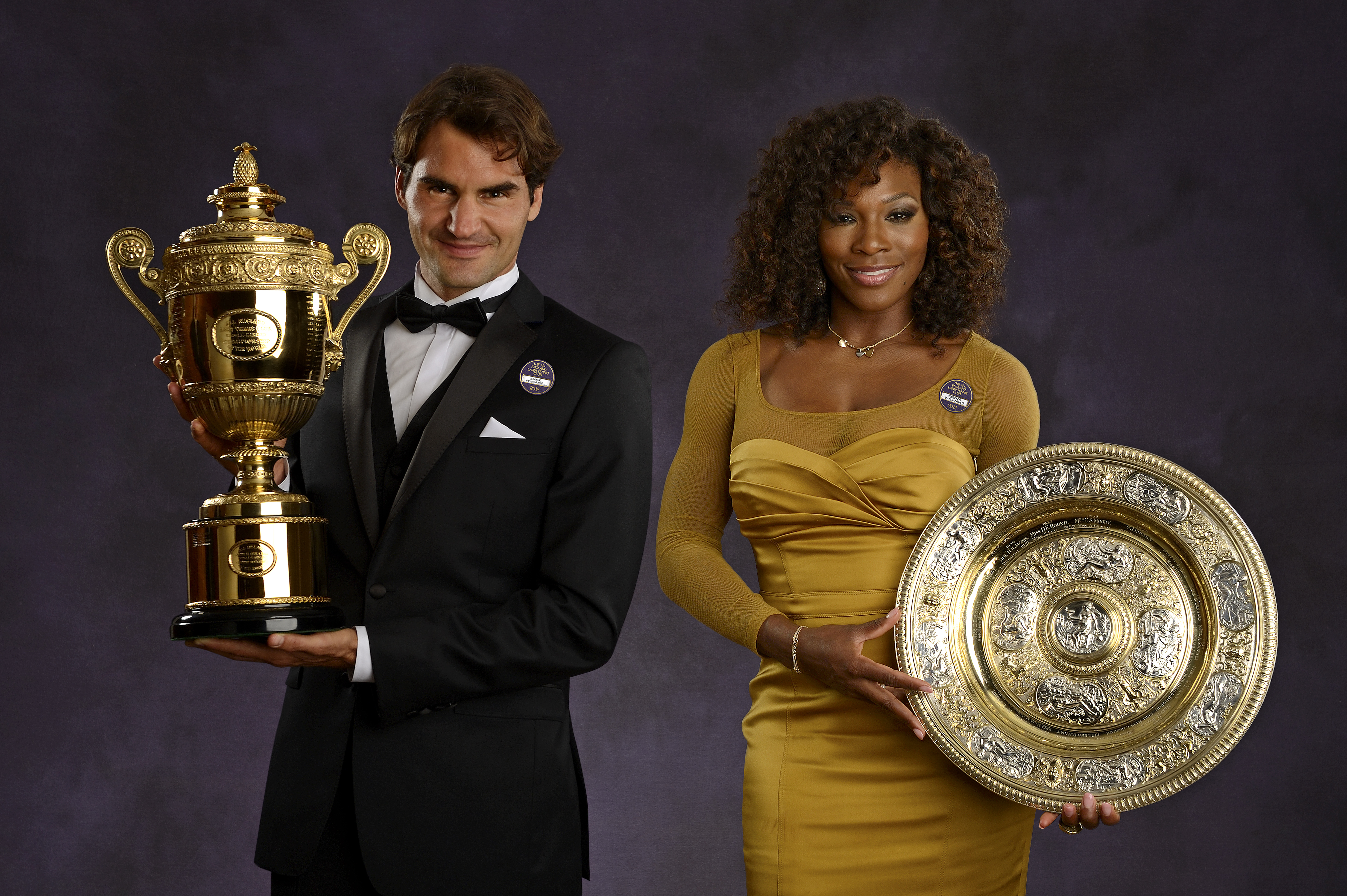 Wimbledon Singles Champions Serena Williams of the USA and Roger Federer of Switzerland pose for a portrait at the Wimbledon Championships 2012 Champions' Dinner (Source: Getty Images)