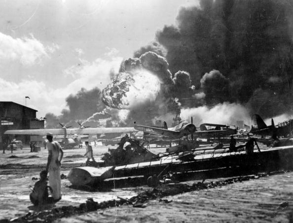 An explosion at the Naval Air Station, Ford Island, Pearl Harbour (Pearl Harbor) during the Japanese attack (Source: Getty Images)