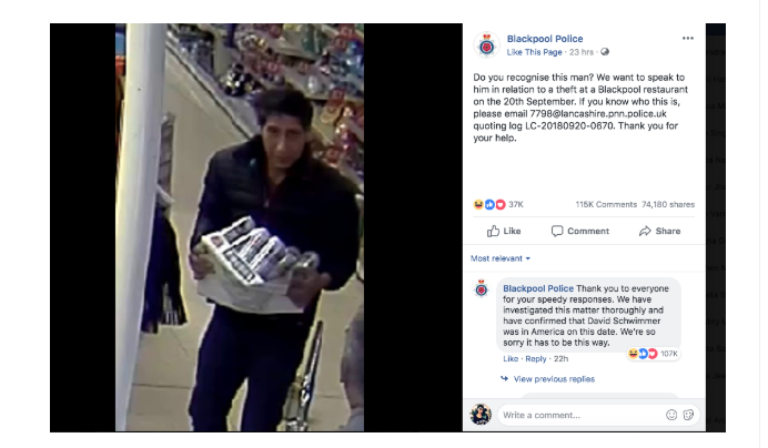 Screenshot of the Blackpool Police department's post on Facebook about the suspect.