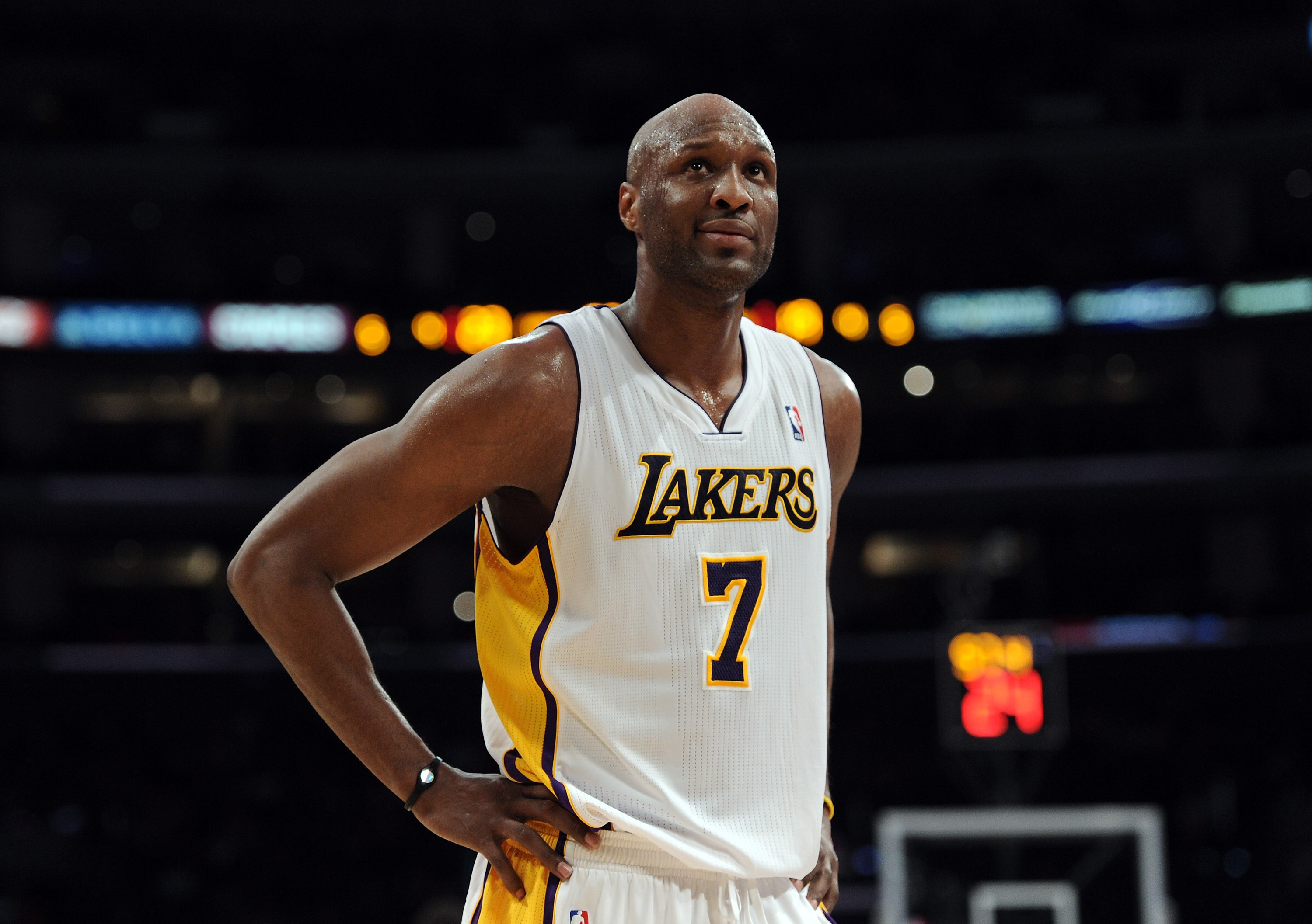 Lamar Odom #7 of the Los Angeles Lakers reacts as his team is called for a foul during the game against the Portland Trail Blazers at the Staples Center on March 20, 2011, in Los Angeles, California. (Getty Images)