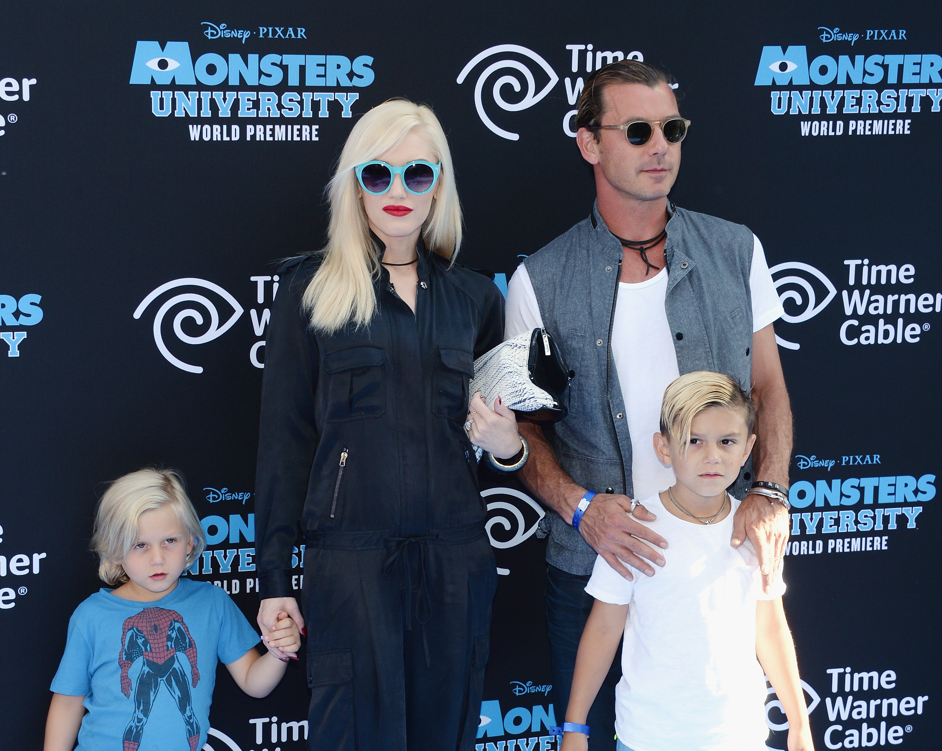 Zuma Nesta Rock Rossdale, Gwen Stefani, Gavin Rossdale and Kingston James McGregor Rossdale attend the premiere of Disney Pixar's 'Monsters University' at the El Capitan Theatre on June 17, 2013 in Hollywood, California.