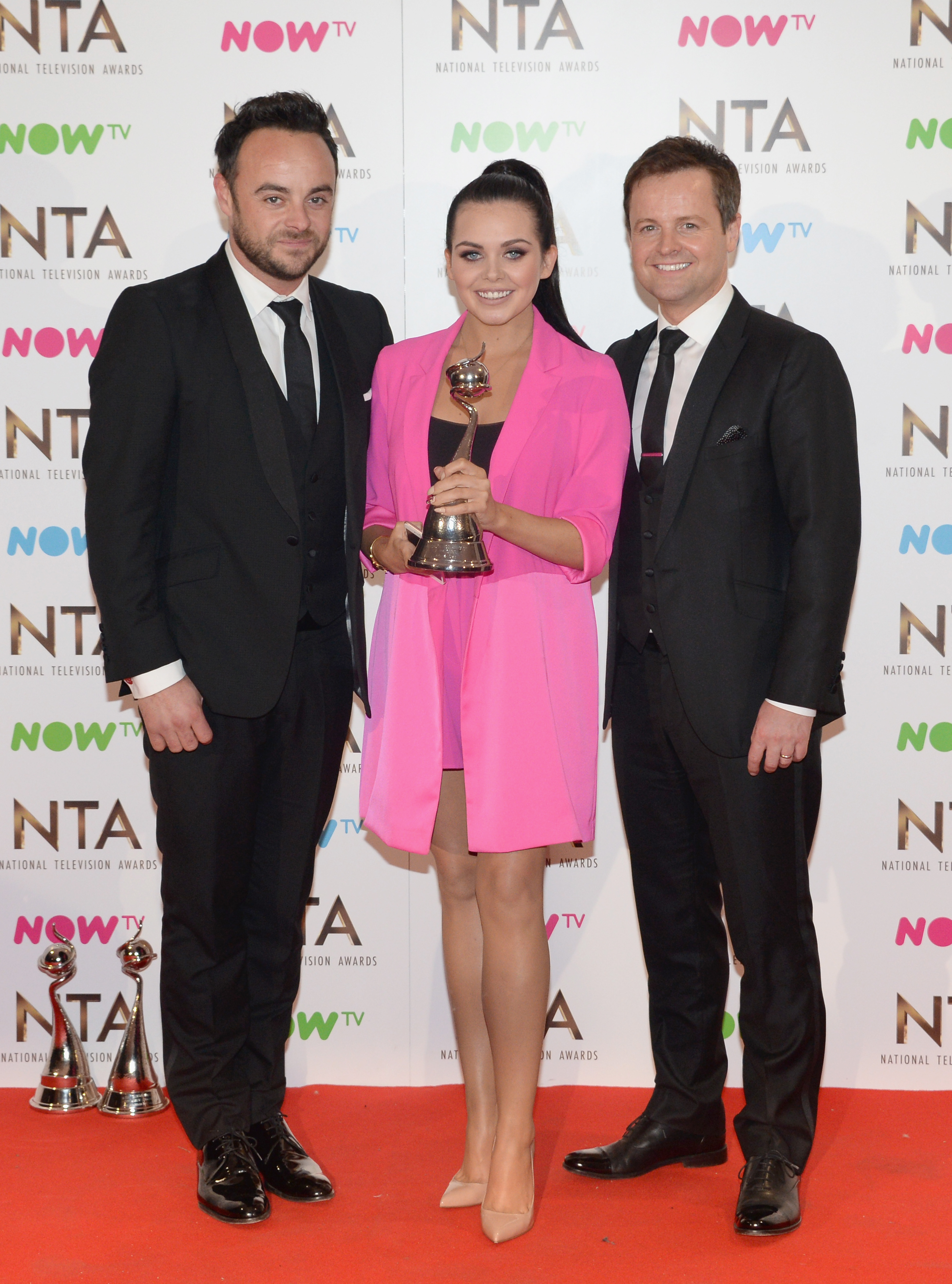 Anthony McPartlin, Declan Donnelly and Scarlett Moffatt with the Best Challenge Show award for I'm a Celebrity... Get Me Out of Here, on stage during the National Television Awards at The O2 Arena on January 25, 2017 in London, England.