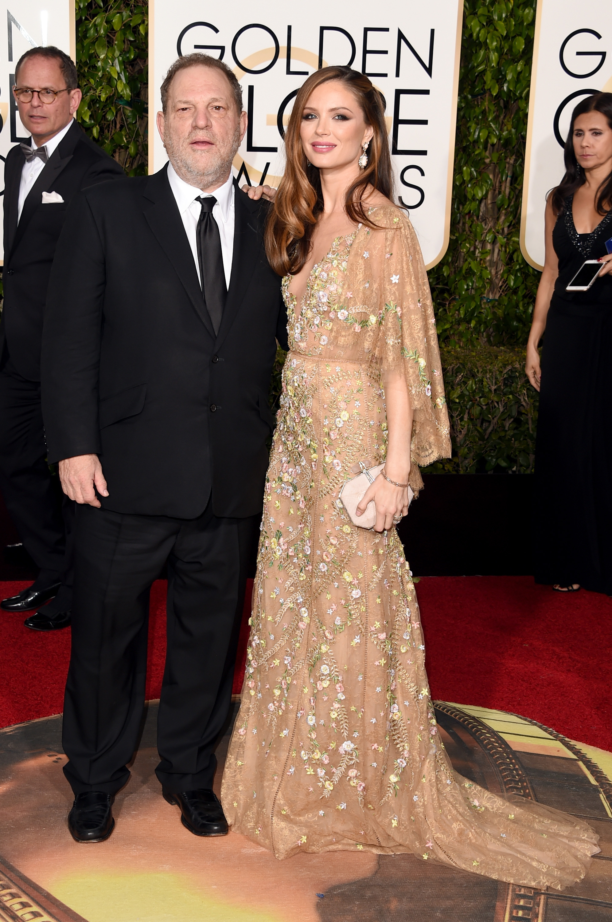 Producer Harvey Weinstein and designer Georgina Chapman attend the 73rd Annual Golden Globe Awards held at the Beverly Hilton Hotel on January 10, 2016 in Beverly Hills, California.
