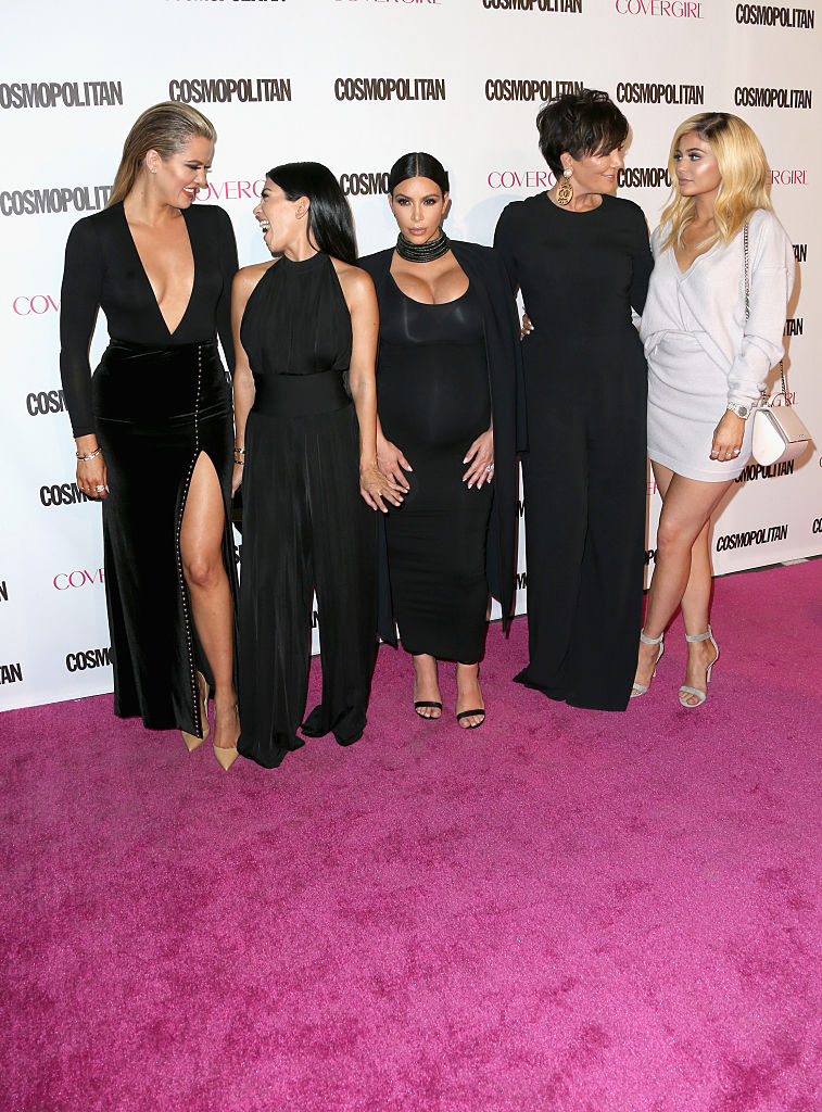 TV personalities Khloe Kardashian, Kourtney Kardashian, Kim Kardashian, Kris Jenner and Kylie Jenner attend Cosmopolitan's 50th Birthday Celebration at Ysabel on October 12, 2015 in West Hollywood, California. (Getty Images)