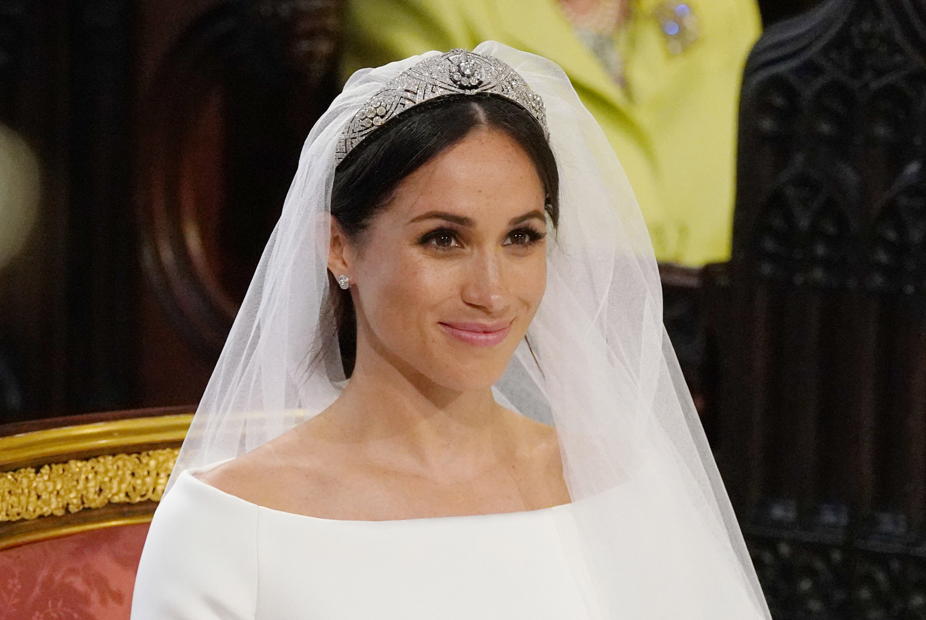 Meghan Markle stands at the altar during her wedding in St George's Chapel at Windsor Castle on May 19, 2018, in Windsor, England. (Getty Images)