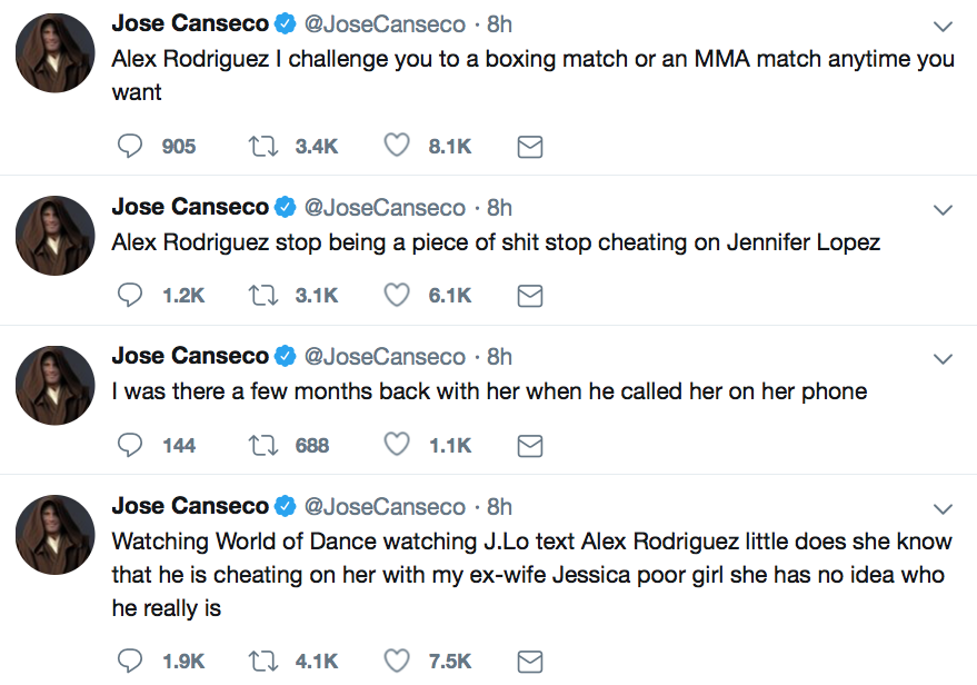 Jose Canseco claims Alex Rodriguez cheated on his new fiancé Jennifer Lopez (Source: Twitter)