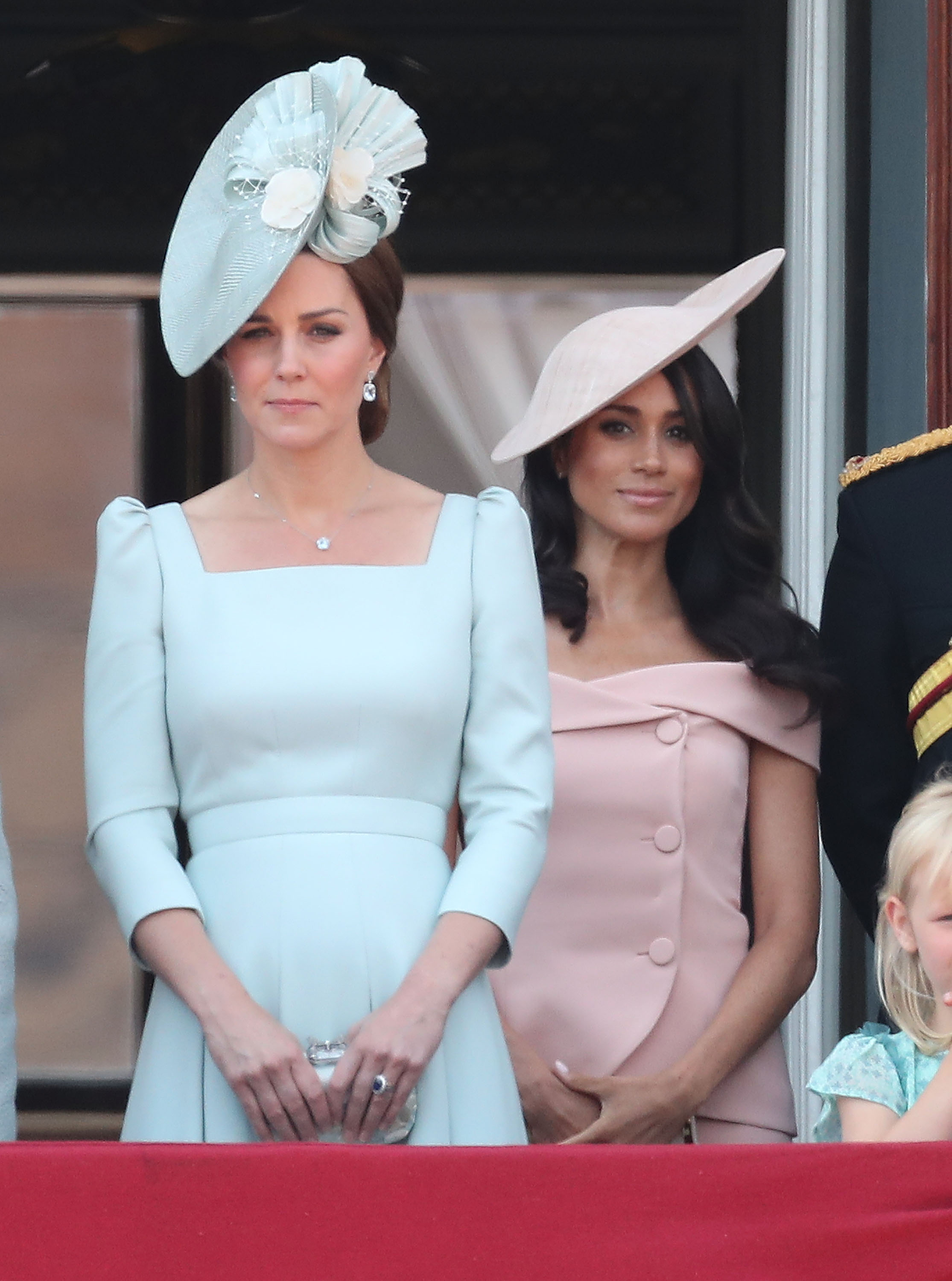 Catherine, Duchess of Cambridge, and Meghan, Duchess of Sussex, on the balcony of Buckingham Palace during Trooping The Colour on June 9, 2018, in London, England. (Getty Images)