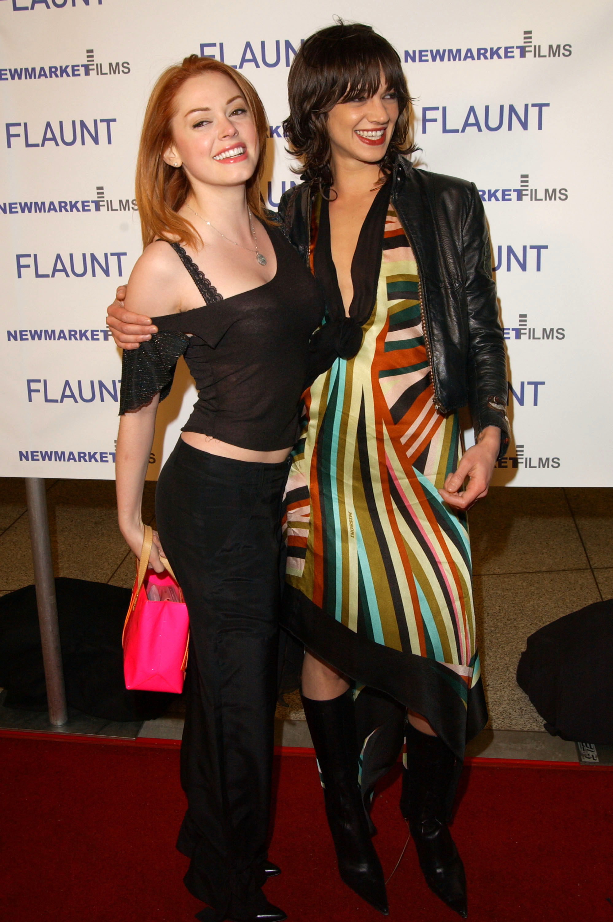 (L to R) Actresses Rose McGowan and Asia Argento attend the premiere of 'Spun' at Pacific's Cinerama Dome Theater on March 17, 2003 in Hollywood, California.