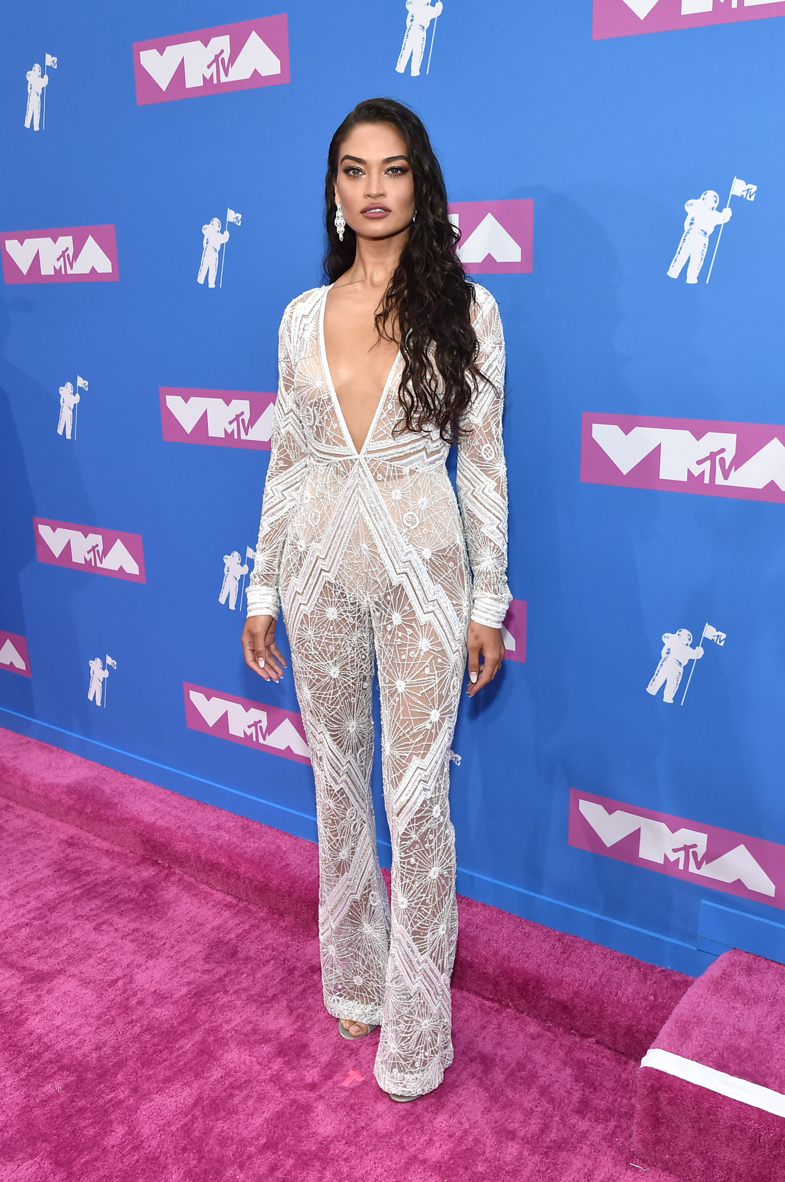 Shanina Shaik attends the 2018 MTV Video Music Awards at Radio City Music Hall on August 20, 2018 in New York City.