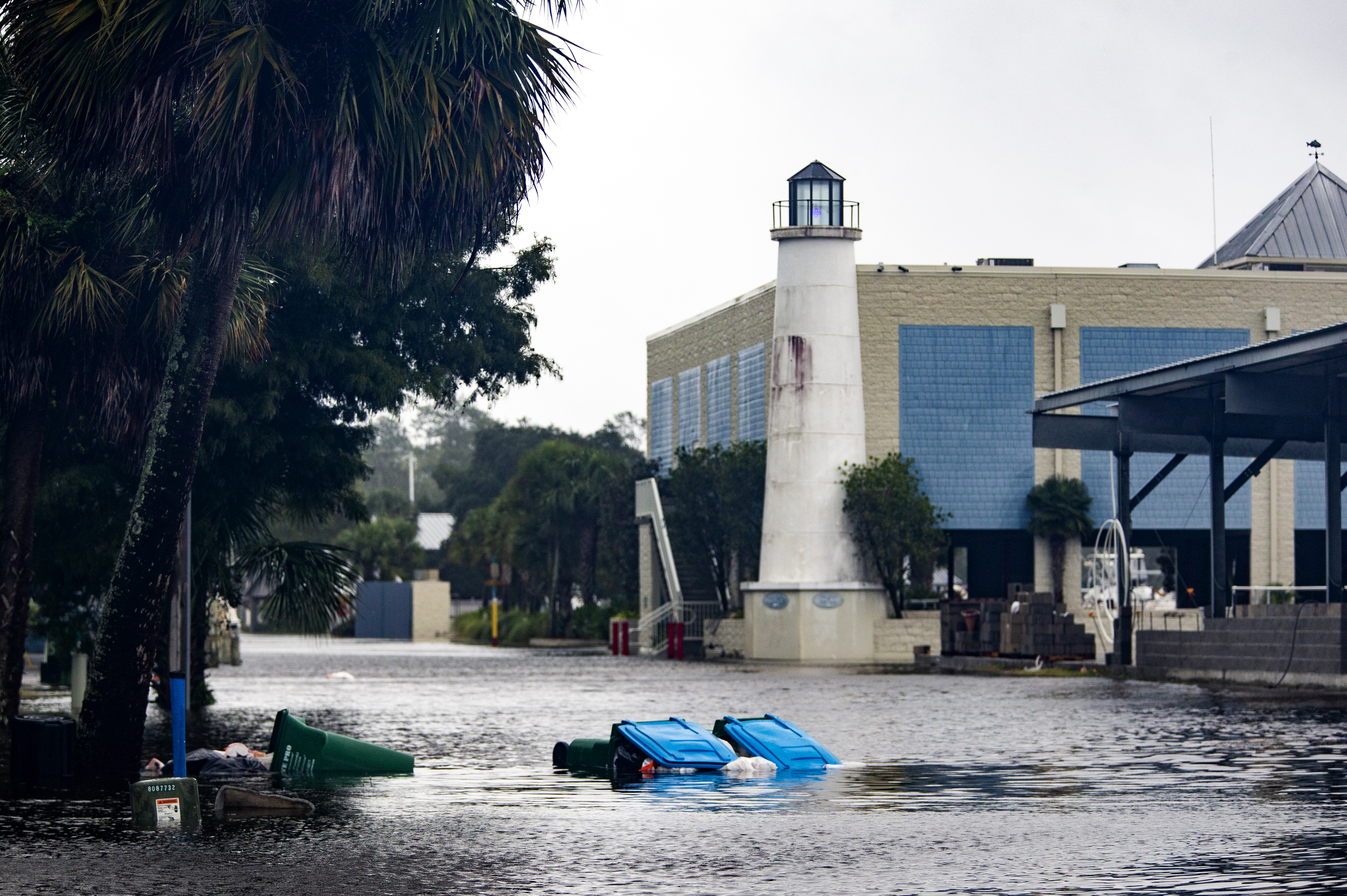 Shields Marina starts taking water in the town of Saint Marks as Hurricane Michael pushes the storm surge up the Wakulla and Saint Marks Rivers which come together here on October 10, 2018 in Saint Marks, Florida. The hurricane is forecast to hit the Florida Panhandle at a possible category 4 storm.