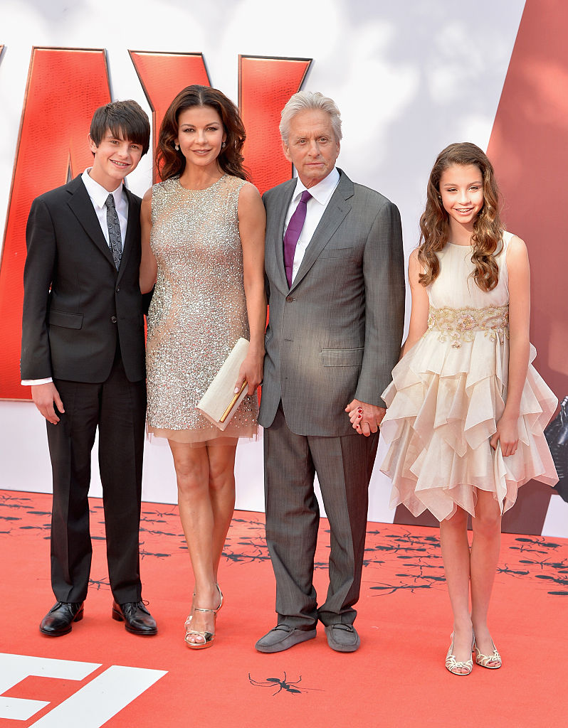 Catherine Zeta-Jones and actor Michael Douglas with their children Dylan and Carys as they attend the European Premiere of Marvel's 'Ant-Man' at the Odeon Leicester Square on July 8, 2015, in London, England. (Getty Images)
