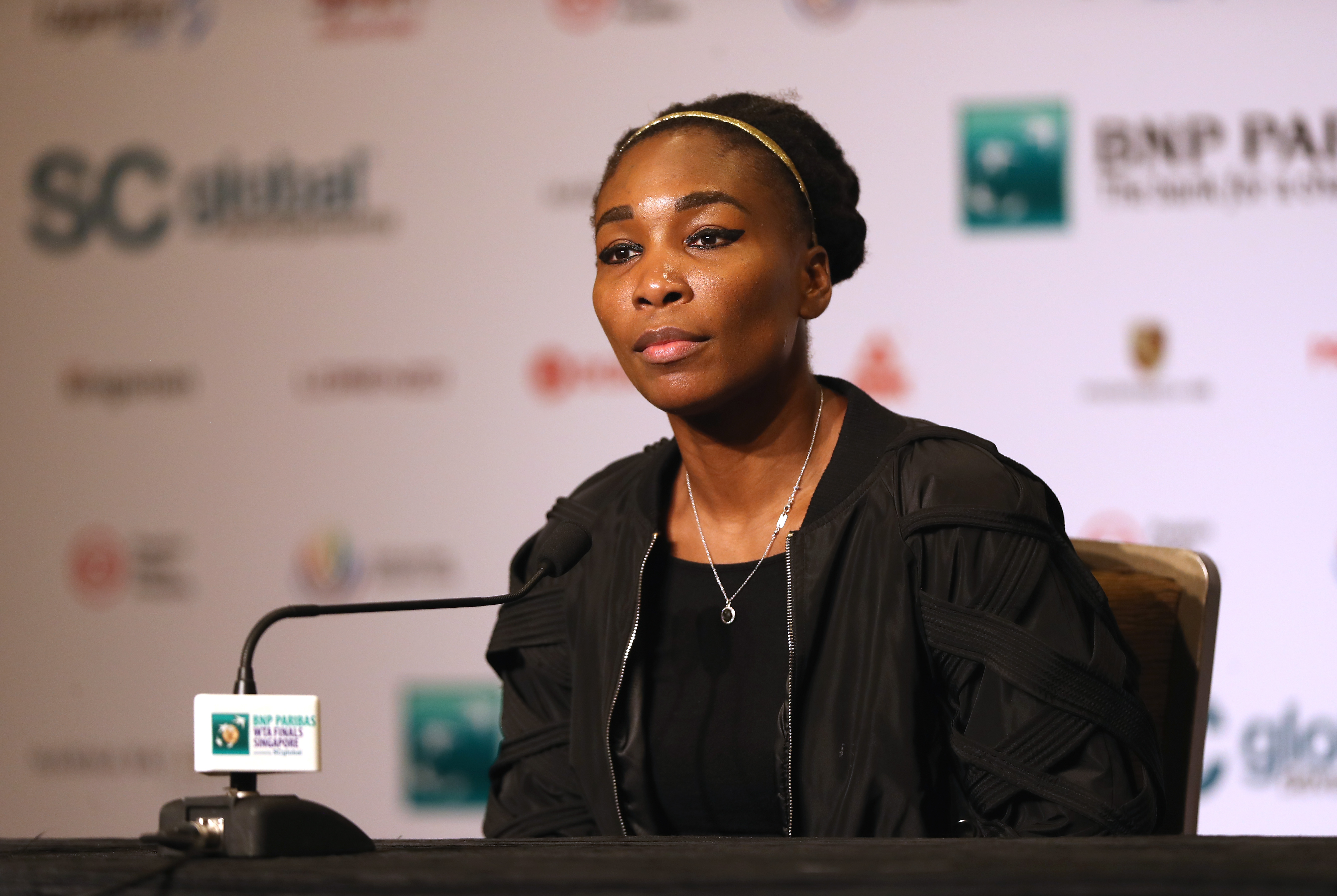 Venus Williams of the United States attends All Access Hour prior to the BNP Paribas WTA Finals Singapore presented by SC Global at Marina Bay Sands Hotel on October 21, 2017 in Singapore.