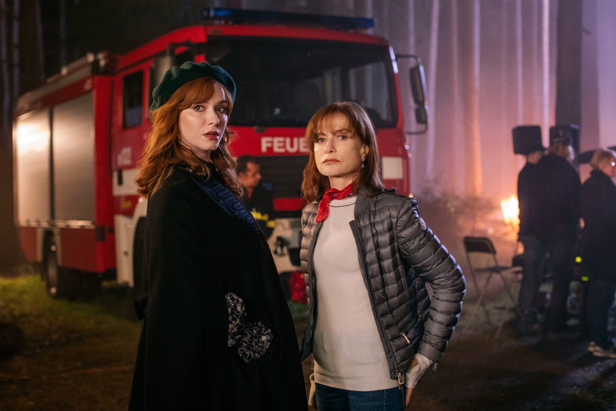 L-R Christina Hendricks (Olivia) and Isabelle Huppert (Jacqueline). Photo courtesy: Twitter