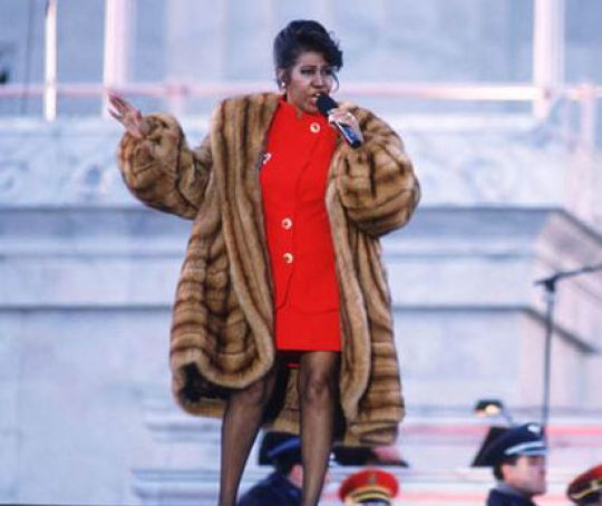 Aretha Franklin performing at President Bill Clinton's inauguration (Getty Images)