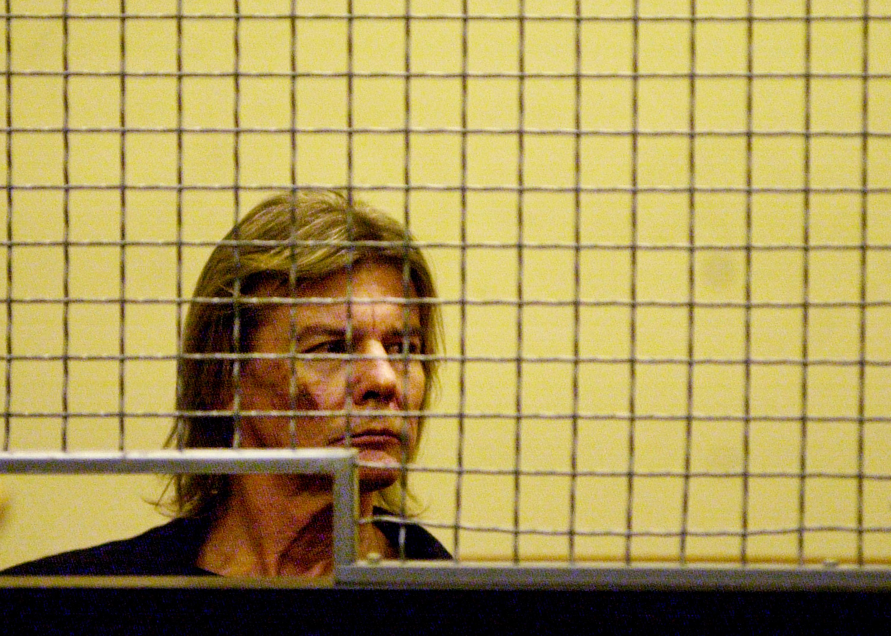 ***EXCLUSIVE*** Actor Jan-Michael Vincent is taken into custody, pending a $5,000.00 bail at his probation violation hearing in Laguna Niguel, CA, July 11, 2000. The 55-year-old former star of the 1980's television show 'Airwolf' was arrested January 19 in a Santa Monica, CA park in the latest of several alcohol-related incident (Getty Images)