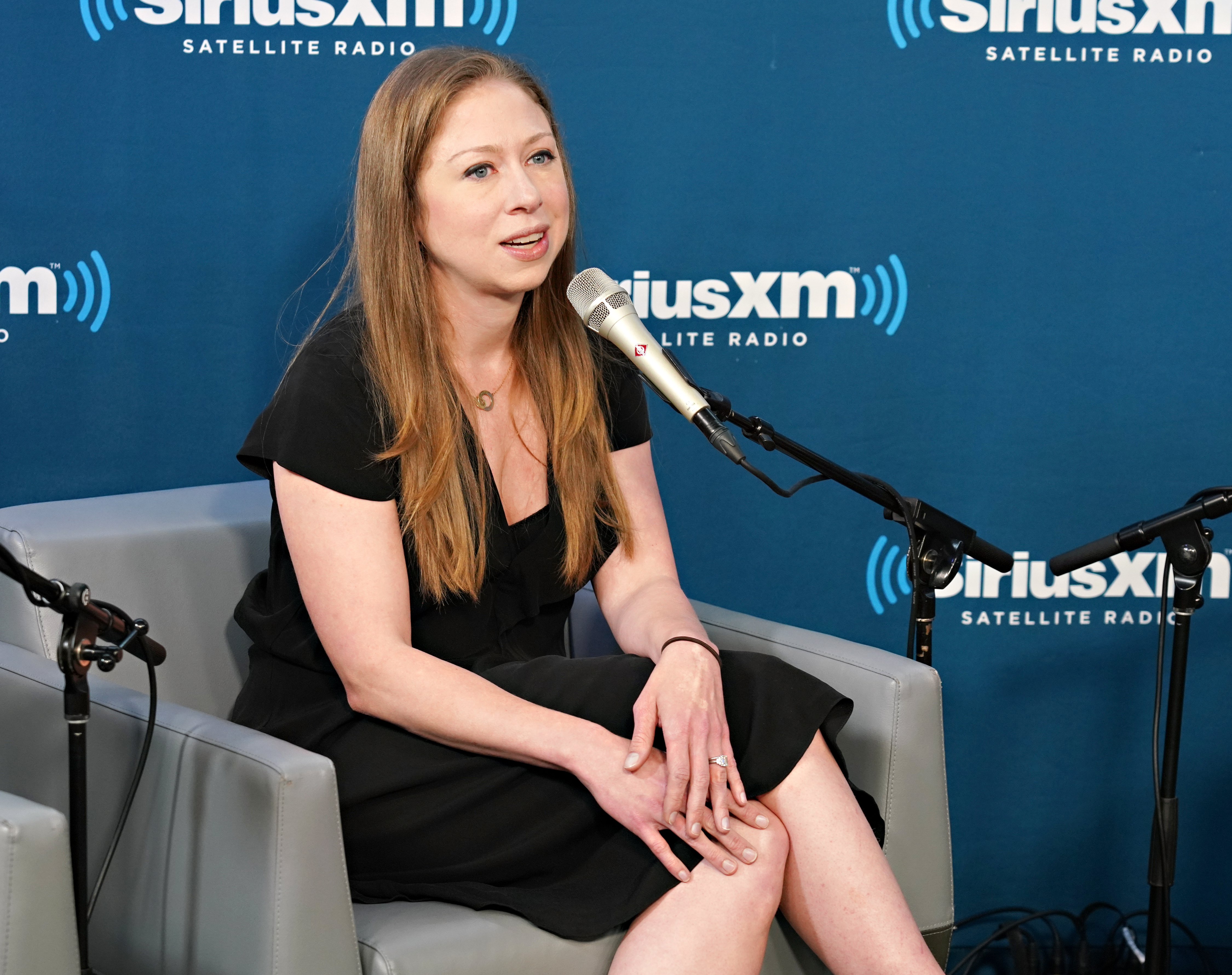 Chelsea Clinton speaks at SiriusXM with Nancy Northup and hosts Zerlina Maxwell and Jess McIntosh at the SiriusXM Studio on September 13, 2018 in New York City.