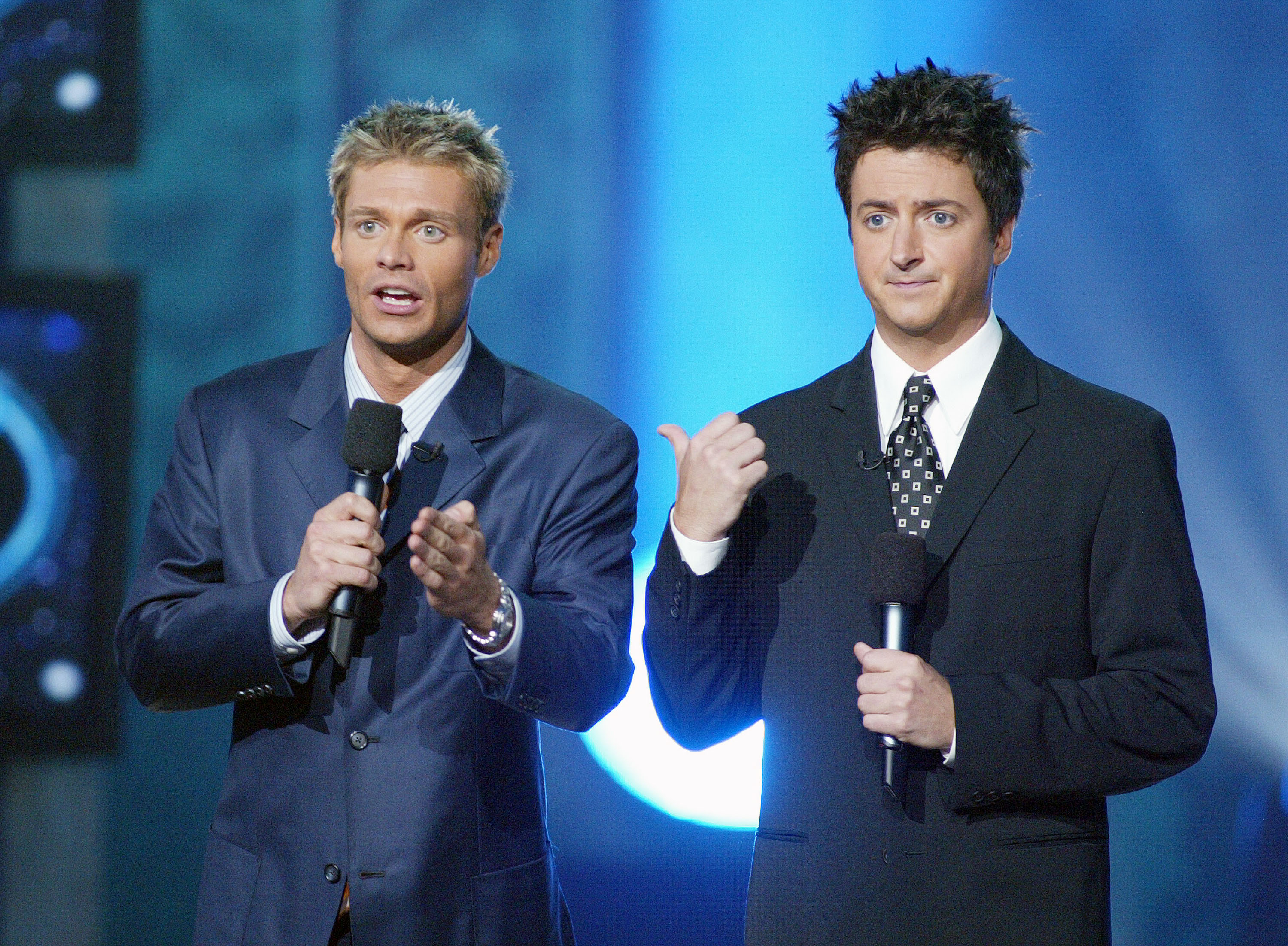 Ryan Seacrest and Brian Dunkleman at FOX-TV's 'American Idol' finale at the Kodak Theatre in Hollywood, Ca. Wednesday, Sept. 4, 2002. (Kevin Winter/ImageDirect)