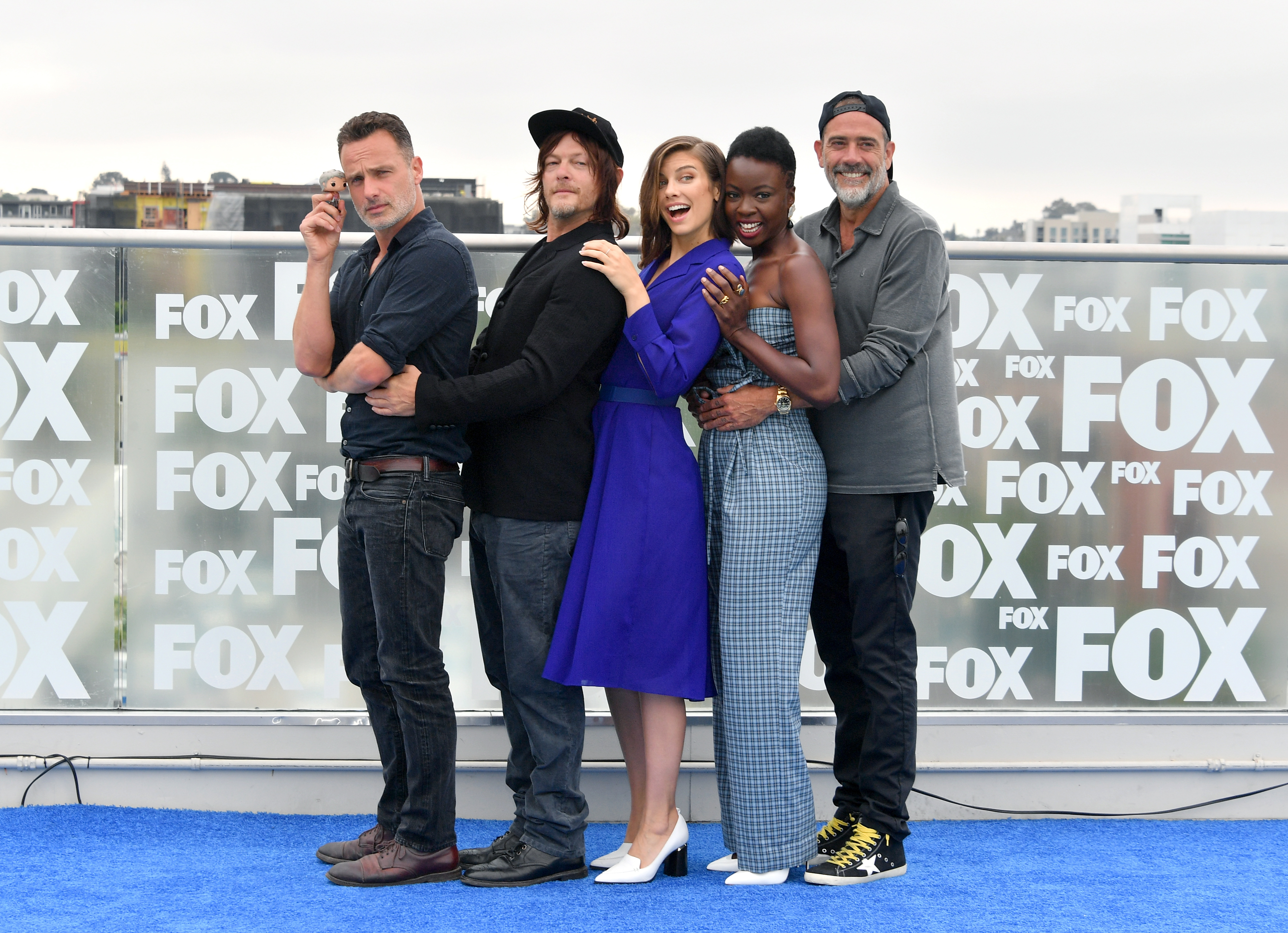 (L-R) Andrew Lincoln, Norman Reedus, Lauren Cohan, Danai Gurira, and Jeffrey Dean Morgan attend 'The Walking Dead' Photo Call during Comic-Con International 2018 at Andaz San Diego on July 20, 2018 in San Diego, California.