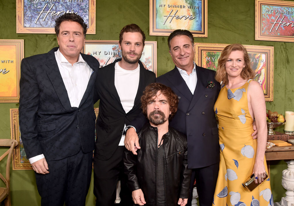 Sacha Gervasi, Jamie Dornan, Peter Dinklage, Andy Garcia and Mireille Enos attend the premiere of HBO Films' 'My Dinner With Herve' at Paramount Studios on October 4, 2018 in Hollywood, California. (Photo by Alberto E. Rodriguez/Getty Images)