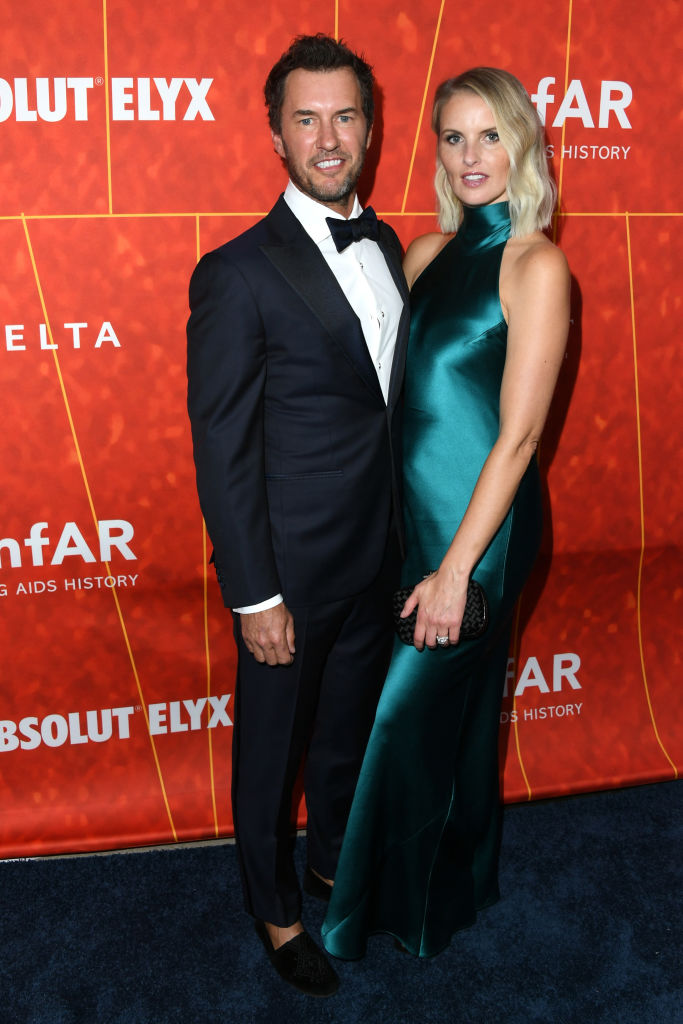 Blake Mycoskie (L) and Heather Lang attend the amfAR Gala Los Angeles 2018 at Wallis Annenberg Center for the Performing Arts on October 18, 2018 in Beverly Hills, California. (Photo by Jon Kopaloff/Getty Images)