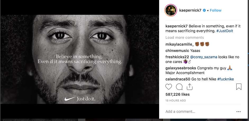 Kaepernick shared the picture on his Instagram, stirring a controversy