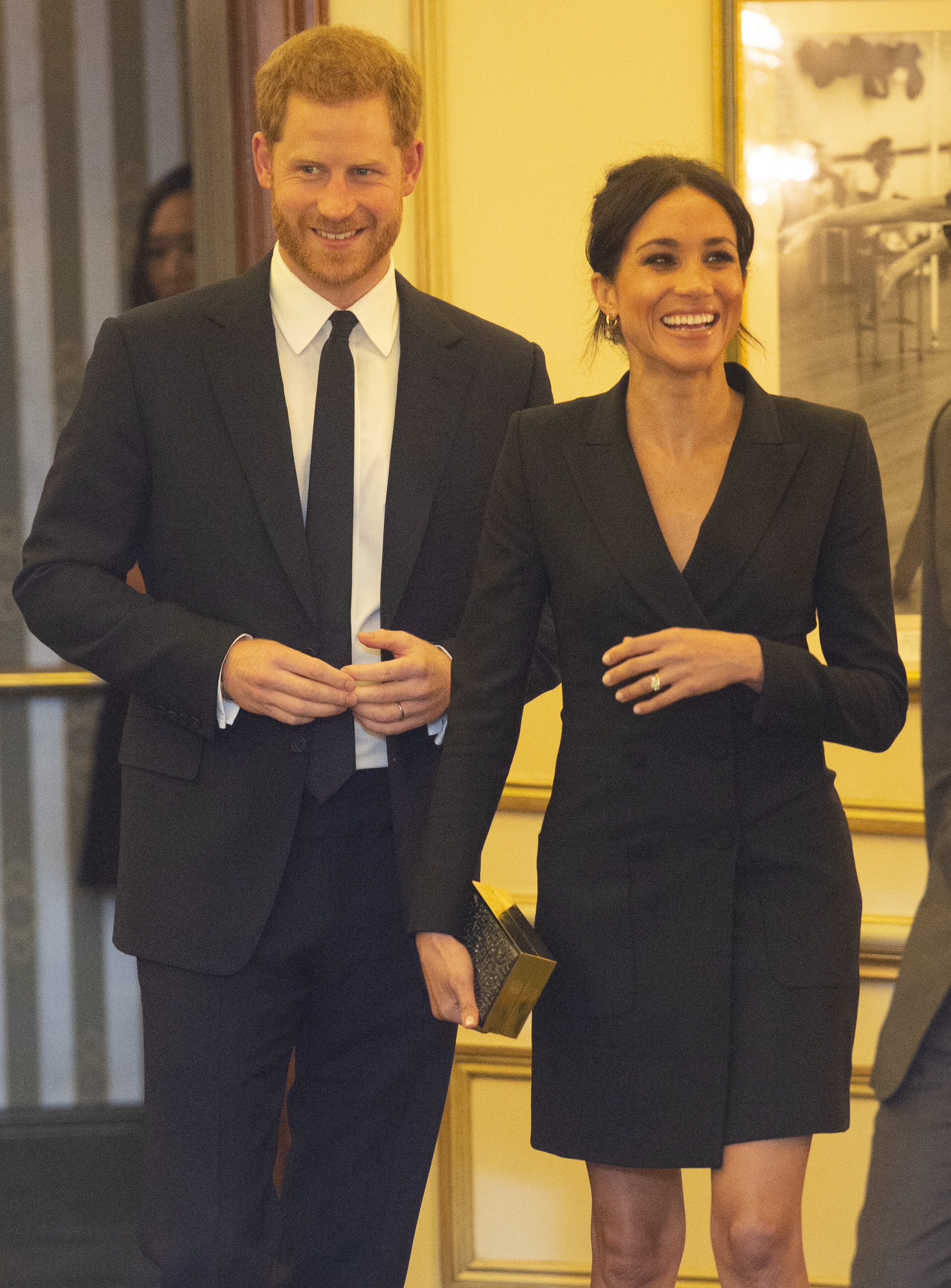 Prince Harry, Duke of Sussex and Meghan, Duchess of Sussex attend a gala performance of 'Hamilton' in support of Sentebale at Victoria Palace Theatre on August 29, 2018 in London, England.