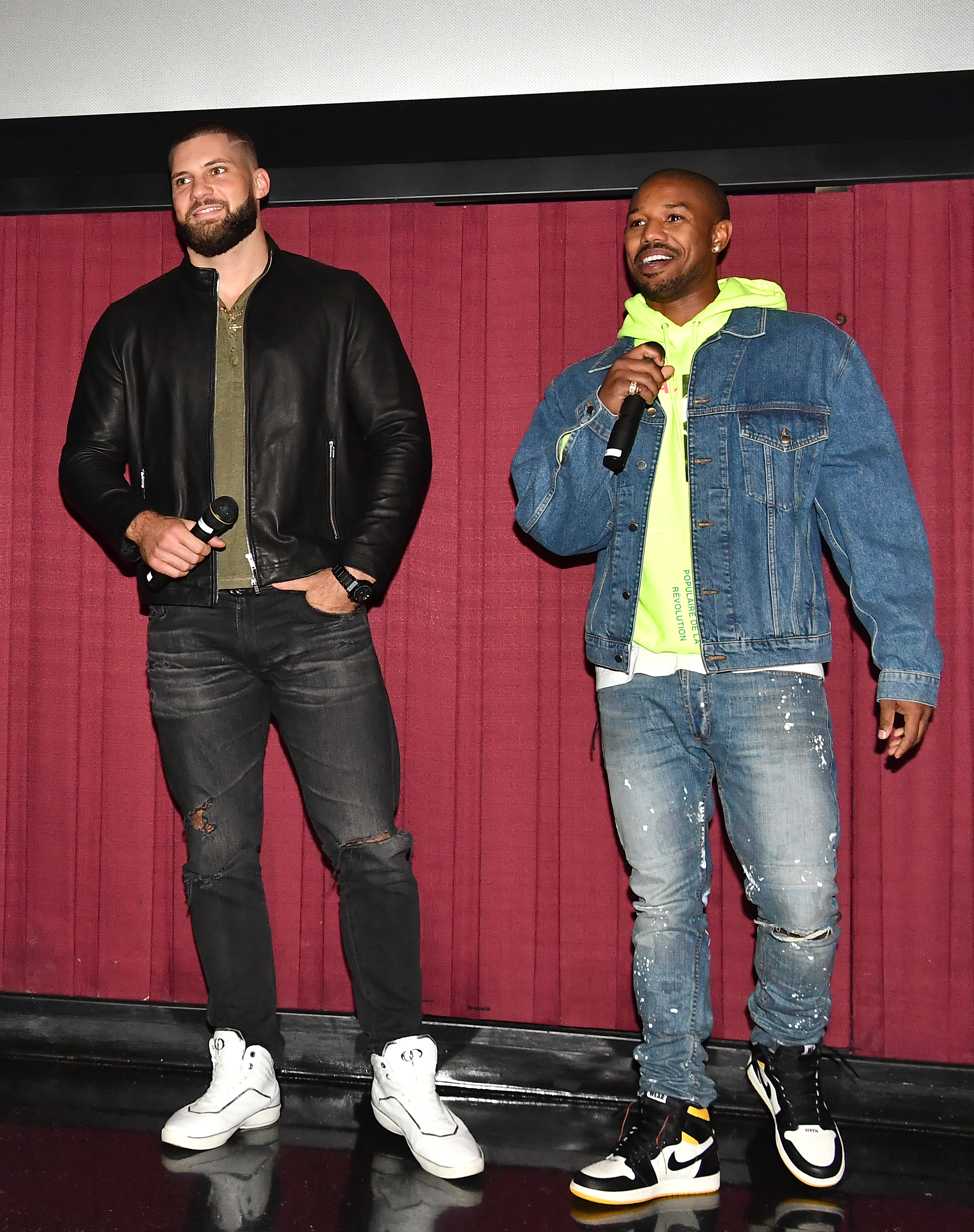 Actors Florian Munteanu and Michael B. Jordan surprise moviegoers during the 'Creed 2' Atlanta screening at Regal Atlantic Station on November 7, 2018 in Atlanta, Georgia.