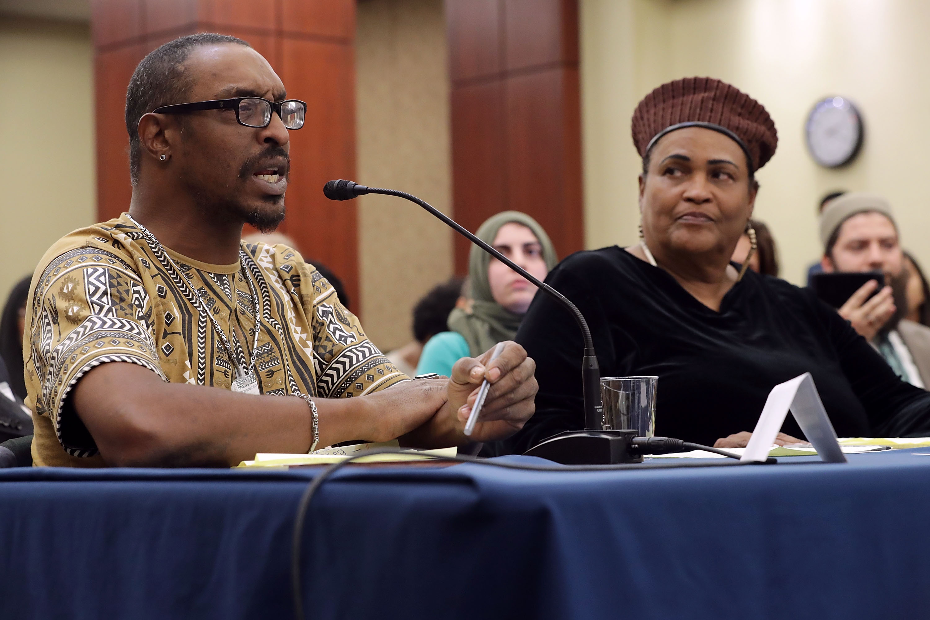 Muhammad Ali Jr., son of boxing legend Muhammad Ali, and his mother Khalilah Camacho-Ali participate in a forum titled 'Ali v. Trump: The Fight for American Values' about immigration enforcement with Democratic members of the House of Representatives in the House Visitors Center at the U.S. Capitol March 9, 2017 in Washington, DC. Ali was held for nearly two hours by Immigration and Customs Enforcement officials and questioned about his Muslim faith after returning to the United States from a trip to Jamaica.