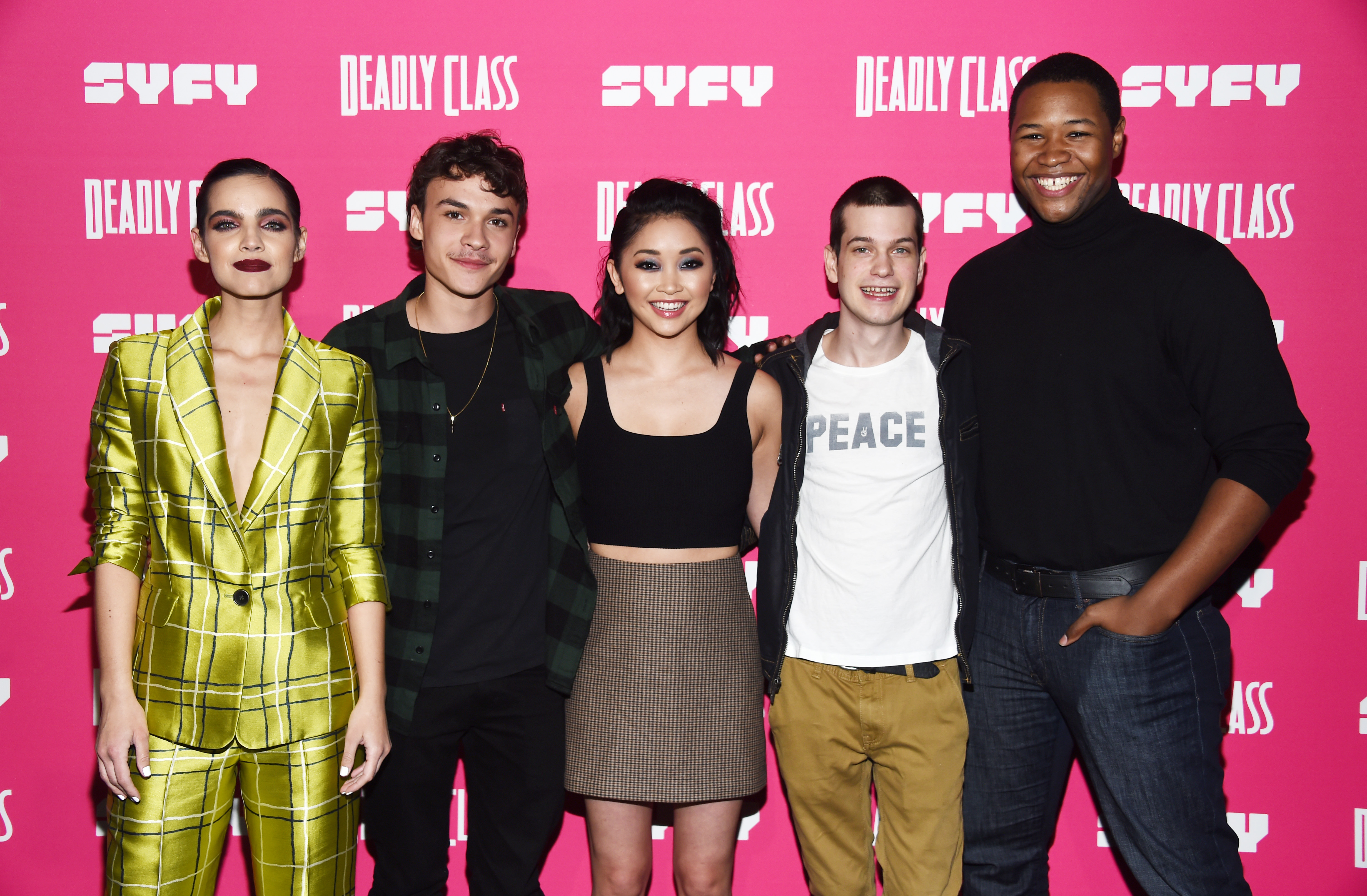 (L-R) Maria Gabriela de Faria, Benjamin Wadsworth, Lana Condor, Liam James and Luke Tennie arrive at SYFY's new series 'Deadly Class' premiere screening at The Roxy Theatre on January 03, 2019, in West Hollywood, California. (Getty Images)