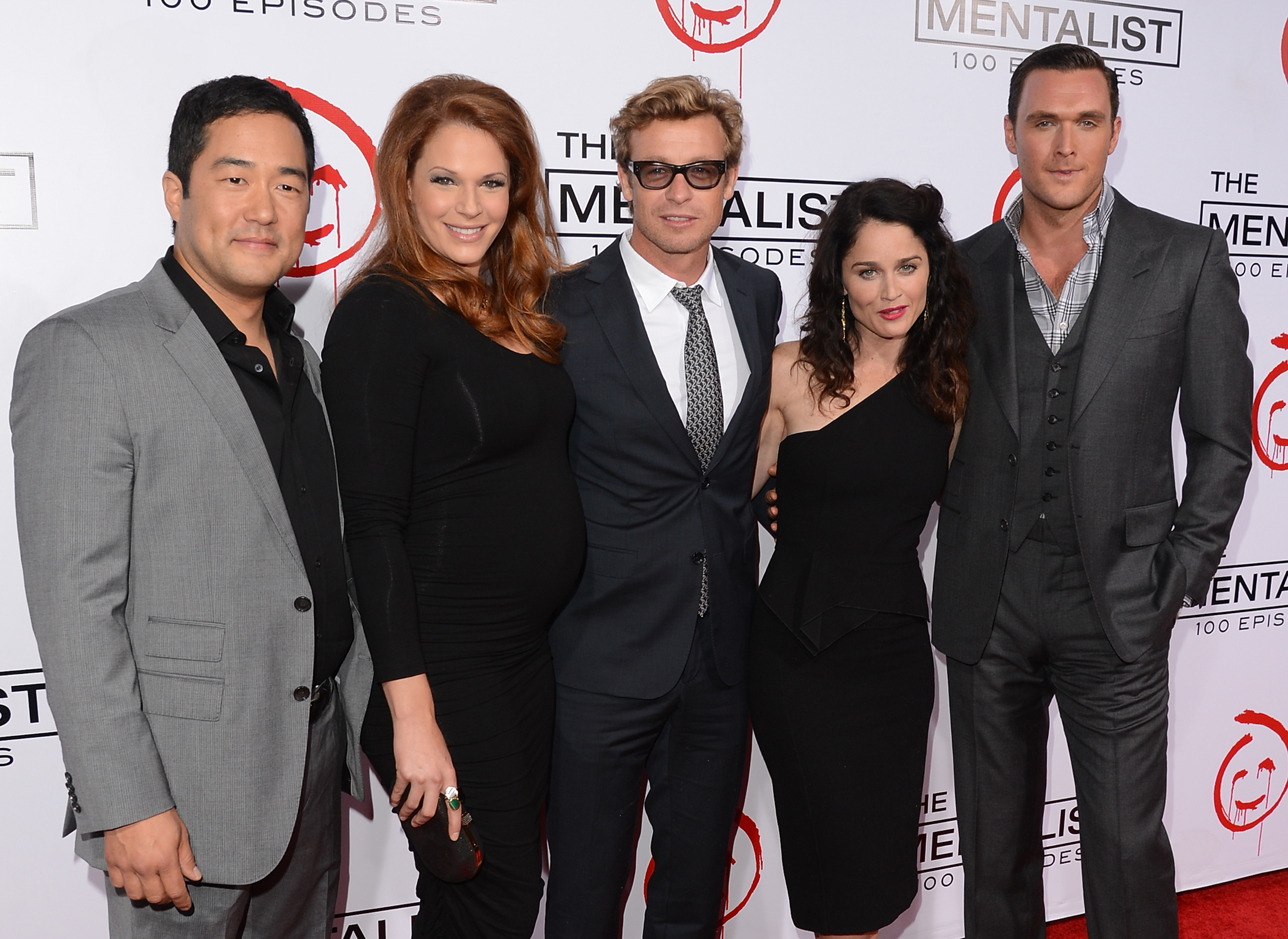 Actors Tim Kang, Amanda Righetti, Simon Baker, Robin Tunney, and Owain Yeoman attend the CBS 100 episode celebration of 'The Mentalist' held at The Edison on October 13, 2012, in Los Angeles, California. (Getty Images)