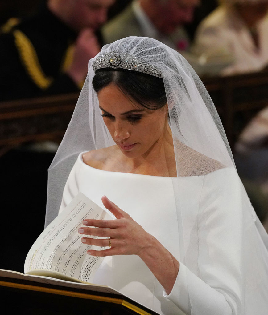 Meghan Markle during their wedding in St George's Chapel at Windsor Castle on May 19, 2018, in Windsor, England. (Getty Images)