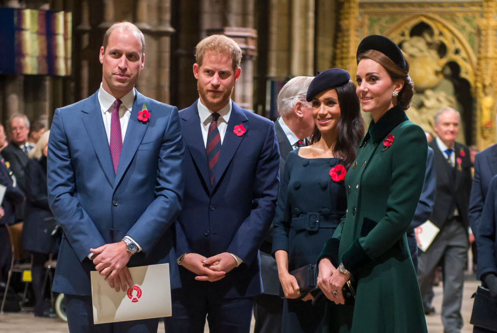 Prince William, Duke of Cambridge and Catherine, Duchess of Cambridge, Prince Harry, Duke of Sussex and Meghan, Duchess of Sussex attend a service marking the centenary of WW1 armistice at Westminster Abbey on November 11, 2018 in London, England. (Photo by Paul Grover- WPA Pool/Getty Images)