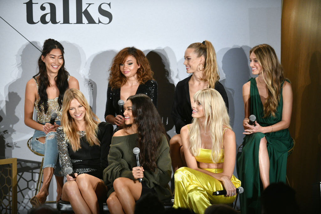 (Top row L-R) Ping Hue, Ashley Moore, Hannah Ferguson, Caroline Lowe, (Bottom row L-R) Nadine Leopold, Shanina Shaik and Devon Windsor on stage at The Talks: Meet the Model Squad during New York Fashion Week: The Shows 2018 at Spring Studios on September 10, 2018 in New York City. (Photo by Bryan Bedder/Getty Images for IMG)