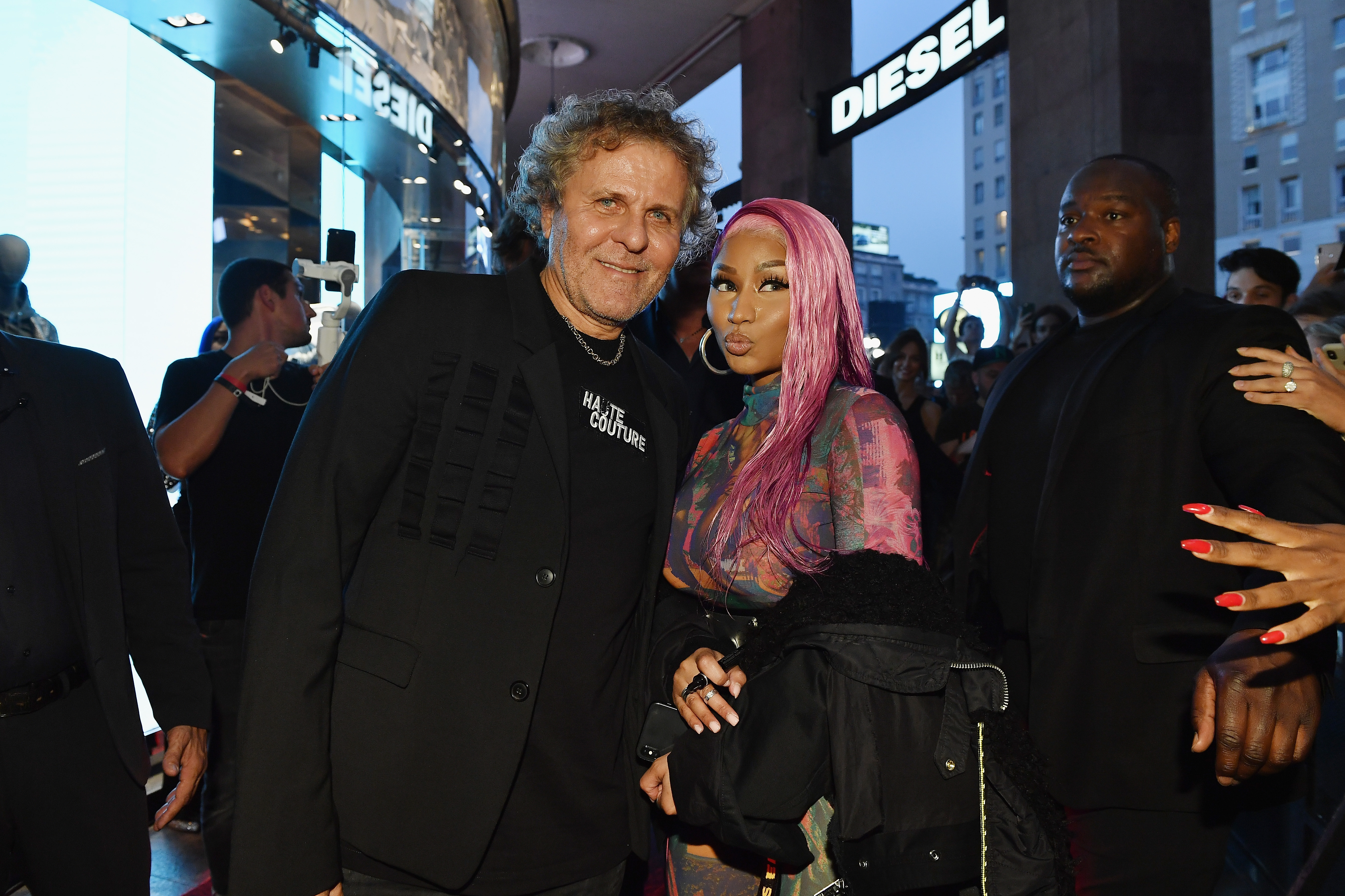 Renzo Rosso and Nicki Minaj attend Diesel Hate Couture on September 19, 2018 in Milan, Italy.