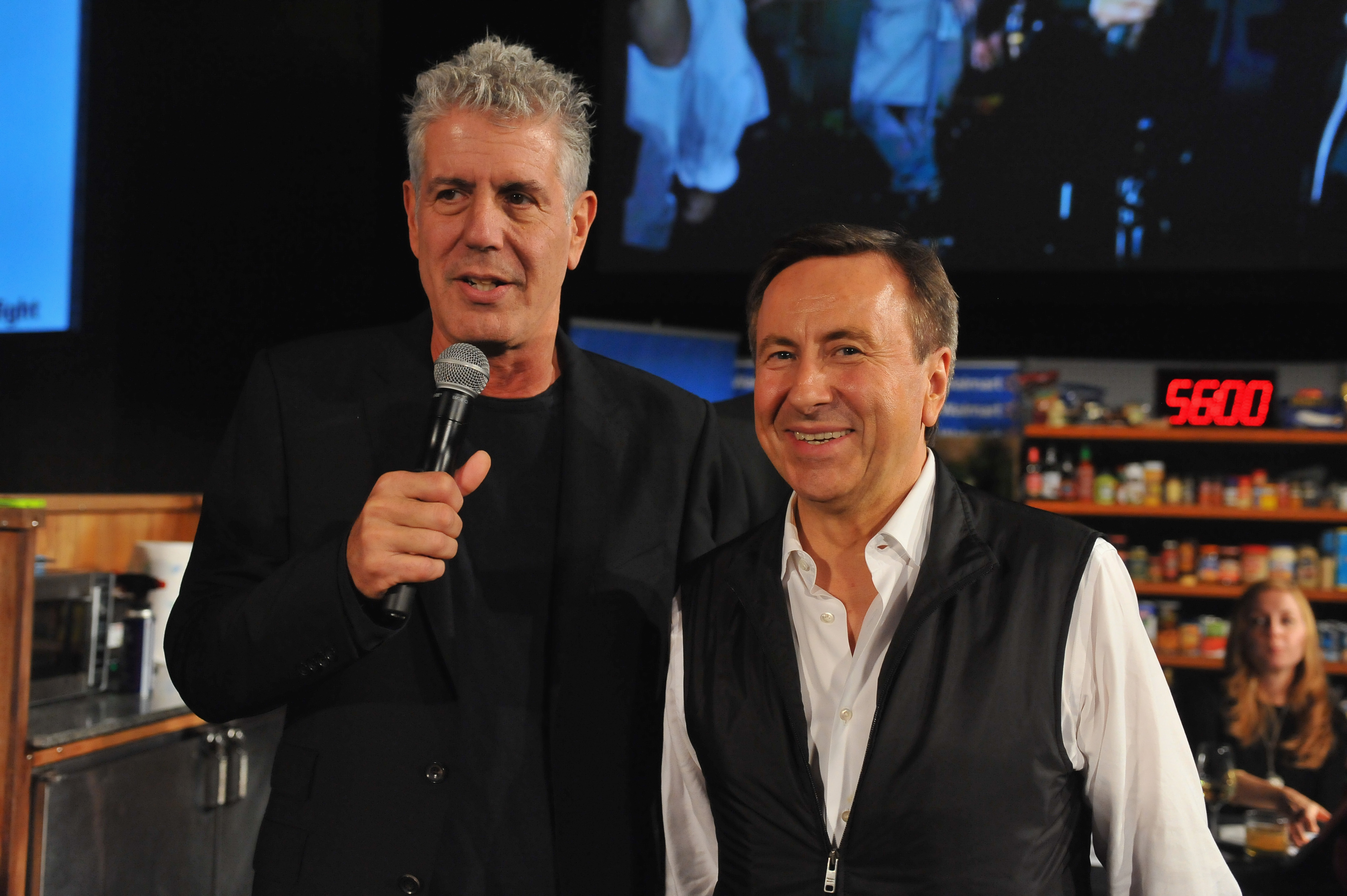 Host Anthony Bourdain and judge Daniel Boulud speak onstage during the DC Central Kitchen's Capital Food Fight event at Ronald Reagan Building on November 11, 2014, in Washington, DC. (Getty Images)