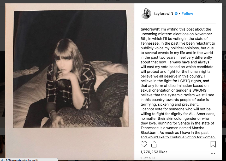 Screenshot of Taylor Swift's Instagram post about the midterm elections.