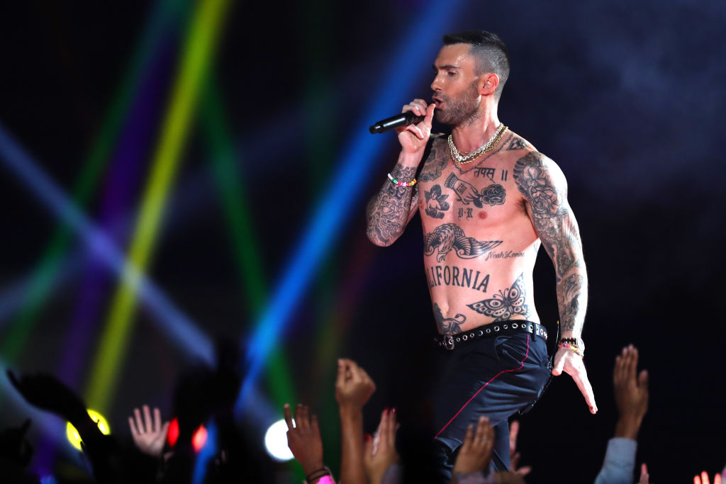 Adam Levine of Maroon 5 performs during the Pepsi Super Bowl LIII Halftime Show at Mercedes-Benz Stadium on February 03, 2019, in Atlanta, Georgia. (Photo by Al Bello/Getty Images)