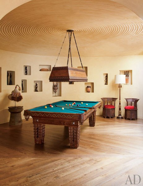 Pool Room: The pool rooms alder-wood billiard table with nailhead detailing was designed by Lance and fabricated by Blatt Billiards. Roger Davies 2011