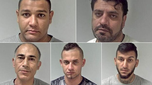 From Left to Right: Jan Dudi, Jabar Paktia, Norbert Pulko, Adam Cech, and Saied Hussini (Source: West Mercia Police)
