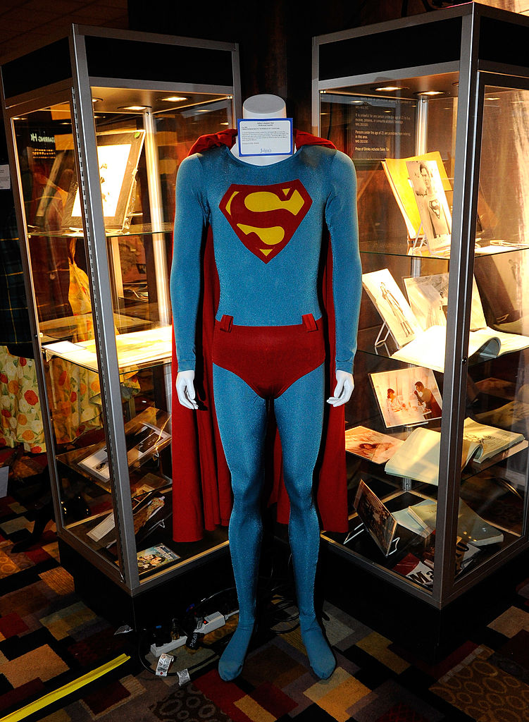 Actor Christopher Reeve's costume from the movie, 'Superman IV: The Quest for Peace' is displayed at Julien's Auctions annual summer sale at the Planet Hollywood Resort & Casino June 24, 2010 in Las Vegas, Nevada. (Photo by Ethan Miller/Getty Images)