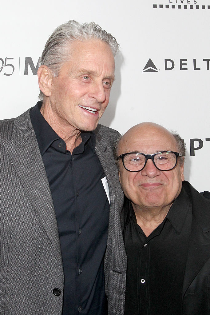 Honoree Michael Douglas (L) and actor Danny DeVito attends the 5th Annual Reel Stories, Real Lives event benefiting MPTF at Milk Studios on April 7, 2016 in Hollywood, California. (Photo by Tommaso Boddi/Getty Images for Motion Picture & Television Fund)