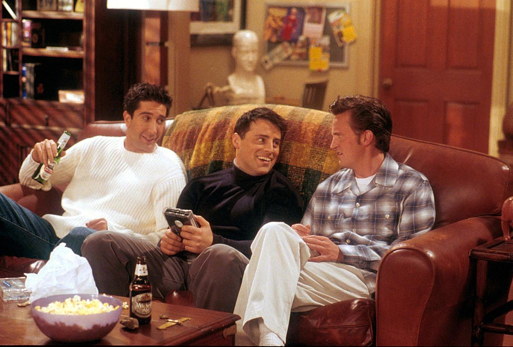 David Schwimmer as Ross, Matt LeBlanc, as Joey, and Matthew Perry as Chandler act in a scene from the television comedy 'Friends' during the seventh season of the show. (Photo by NBC/Newsmakers)
