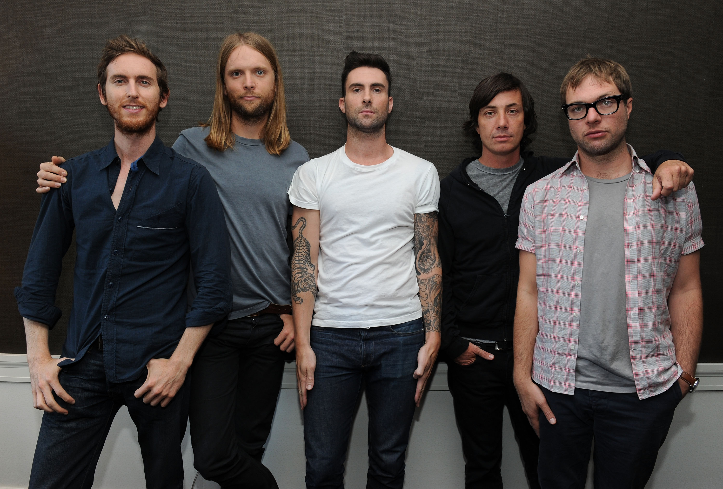 Musicians Jesse Carmichael, James Valentine, Adam Levine, Matt Flynn and Michael Madden of the band Maroon 5 attend the VEVO Summer Sets Concert Series at the Empire Hotel on July 1, 2010, in New York City. (Getty Images)
